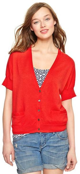 Gap Short Sleeve Cardigan In Red Poster Red Lyst