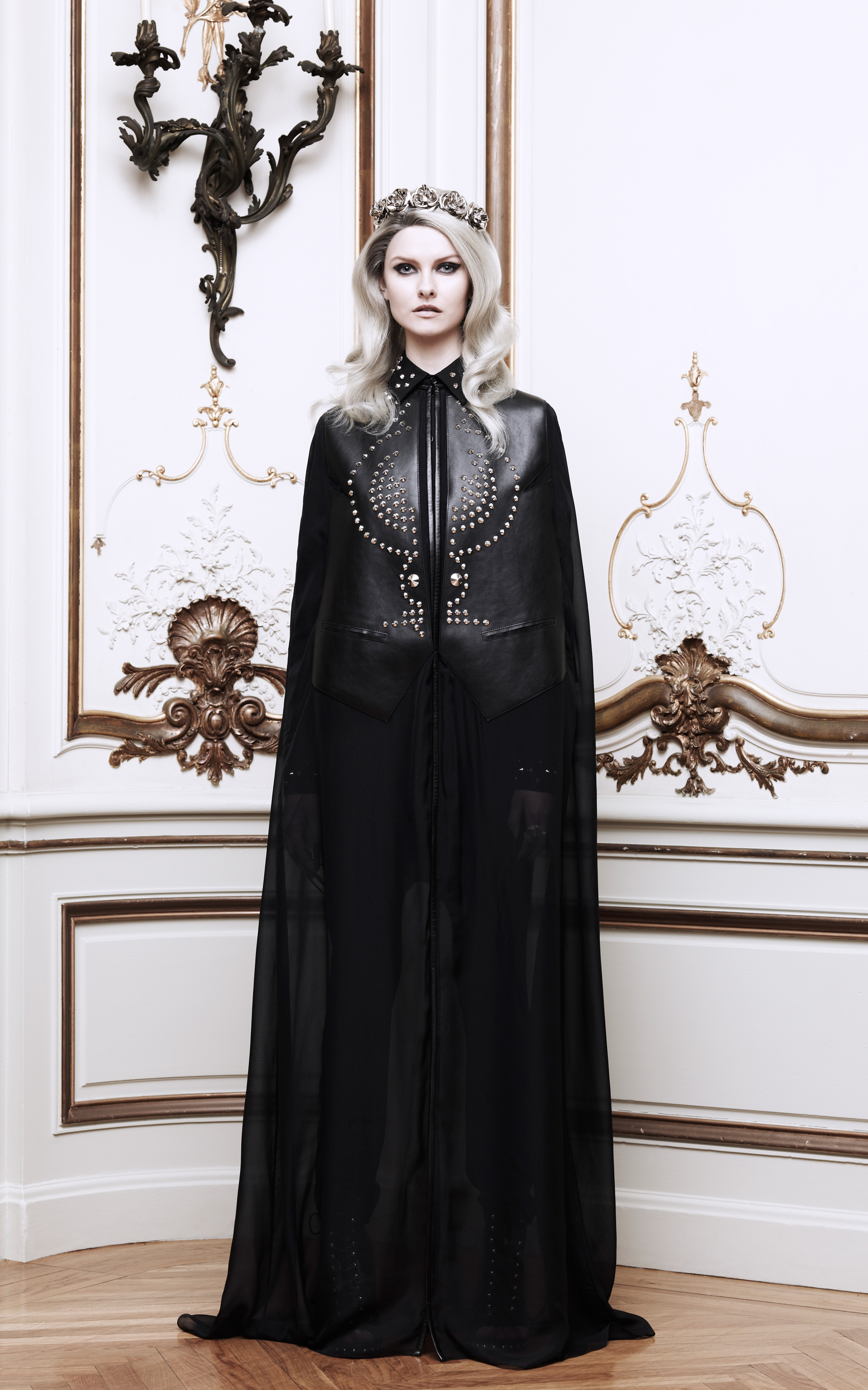Lyst givenchy chiffon and leather long cape in black for Cape designs