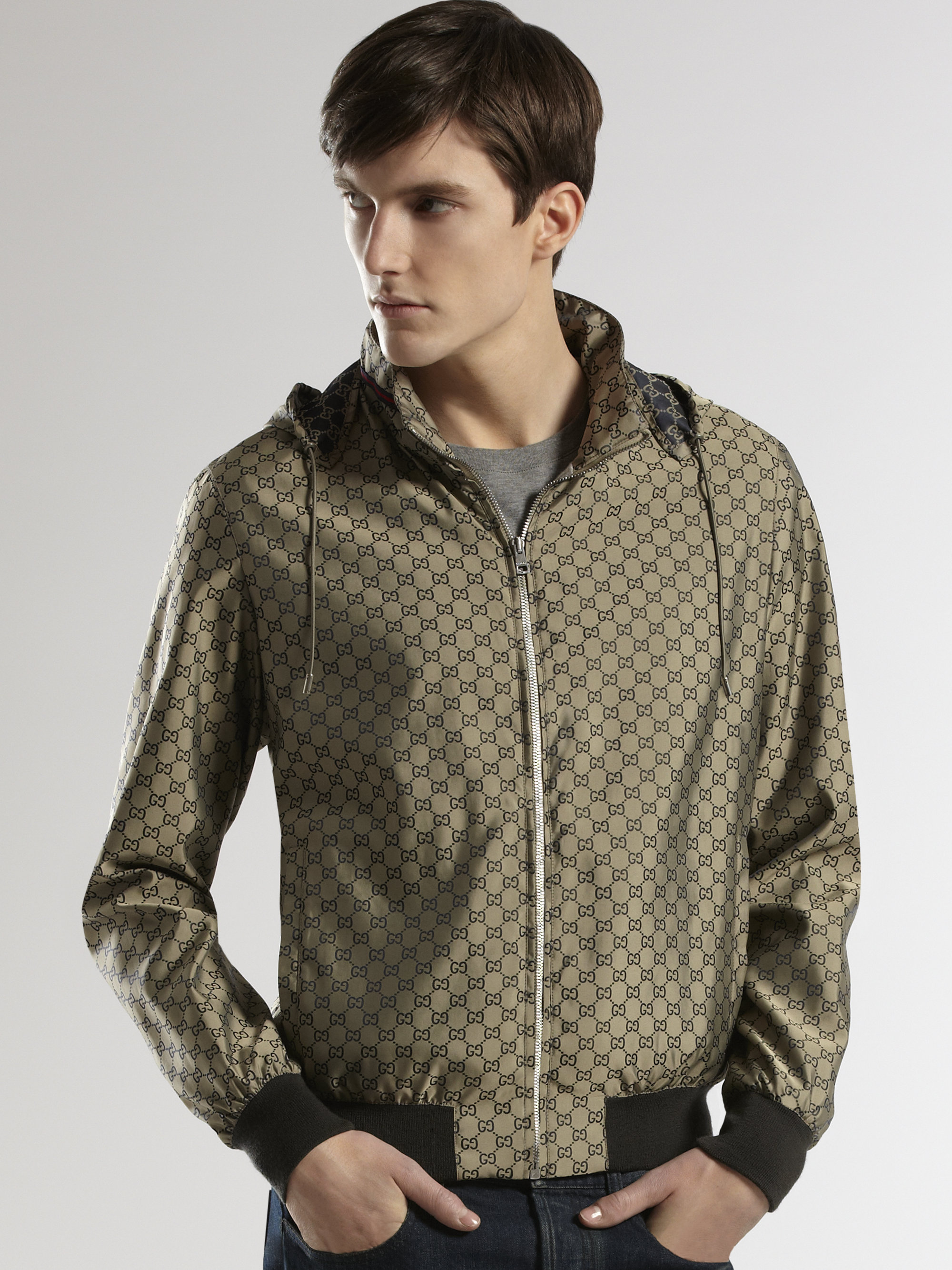 Gucci Gg Nylon Kway Jacket in Gray for Men