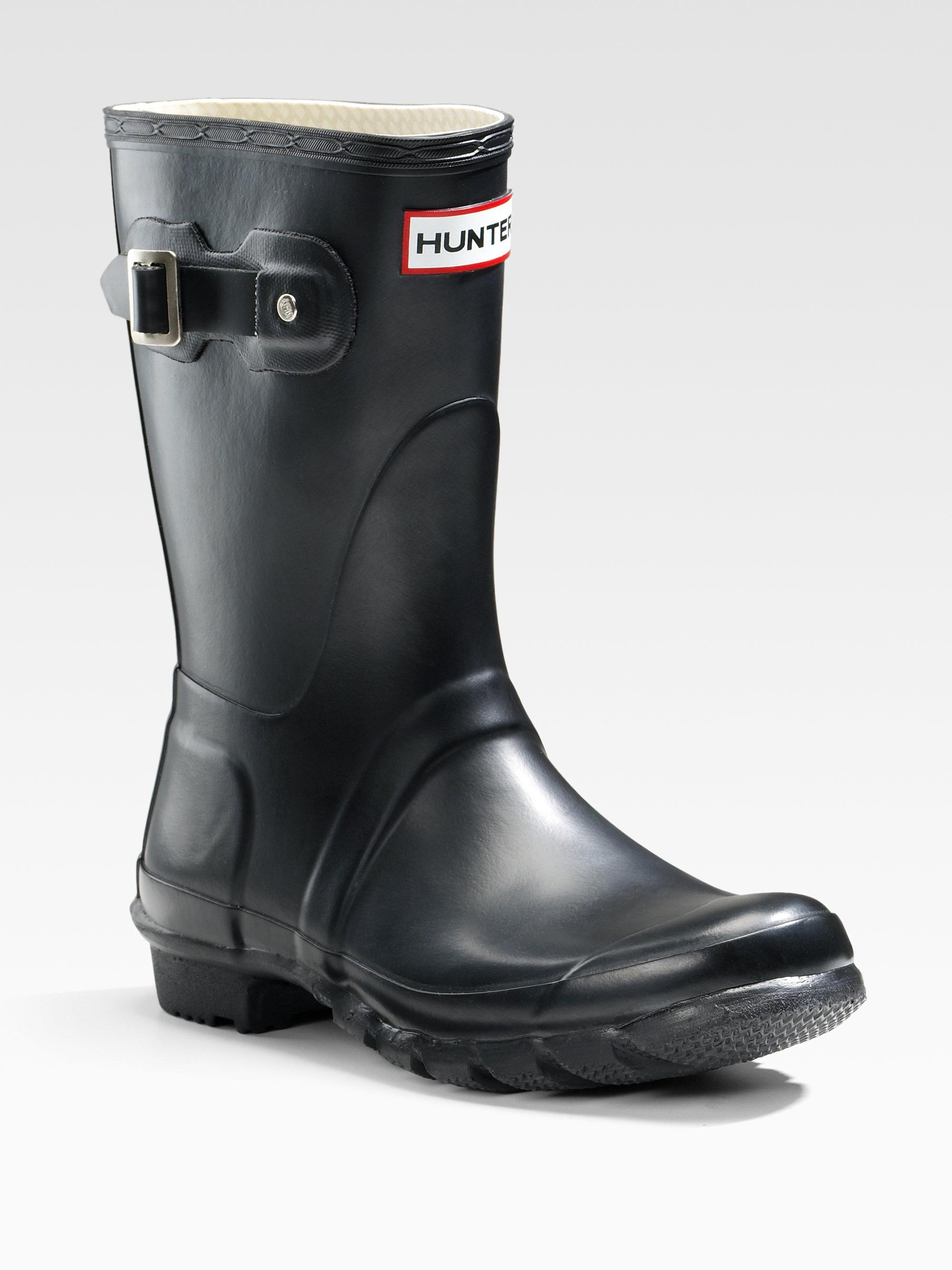 Hunter Short Rain Boots In Black Lyst