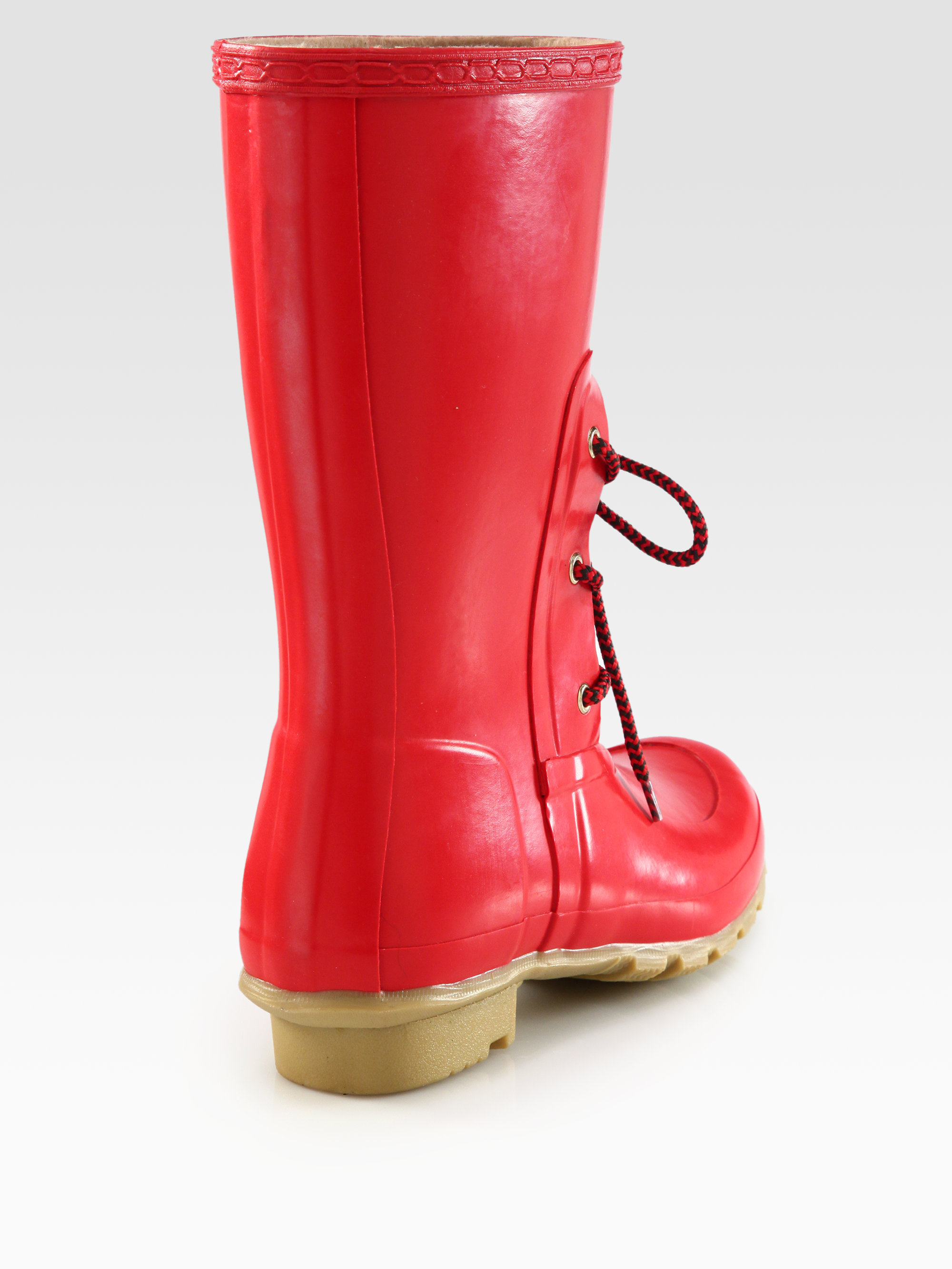 Lyst Hunter Rubber Laceup Rain Boots In Red