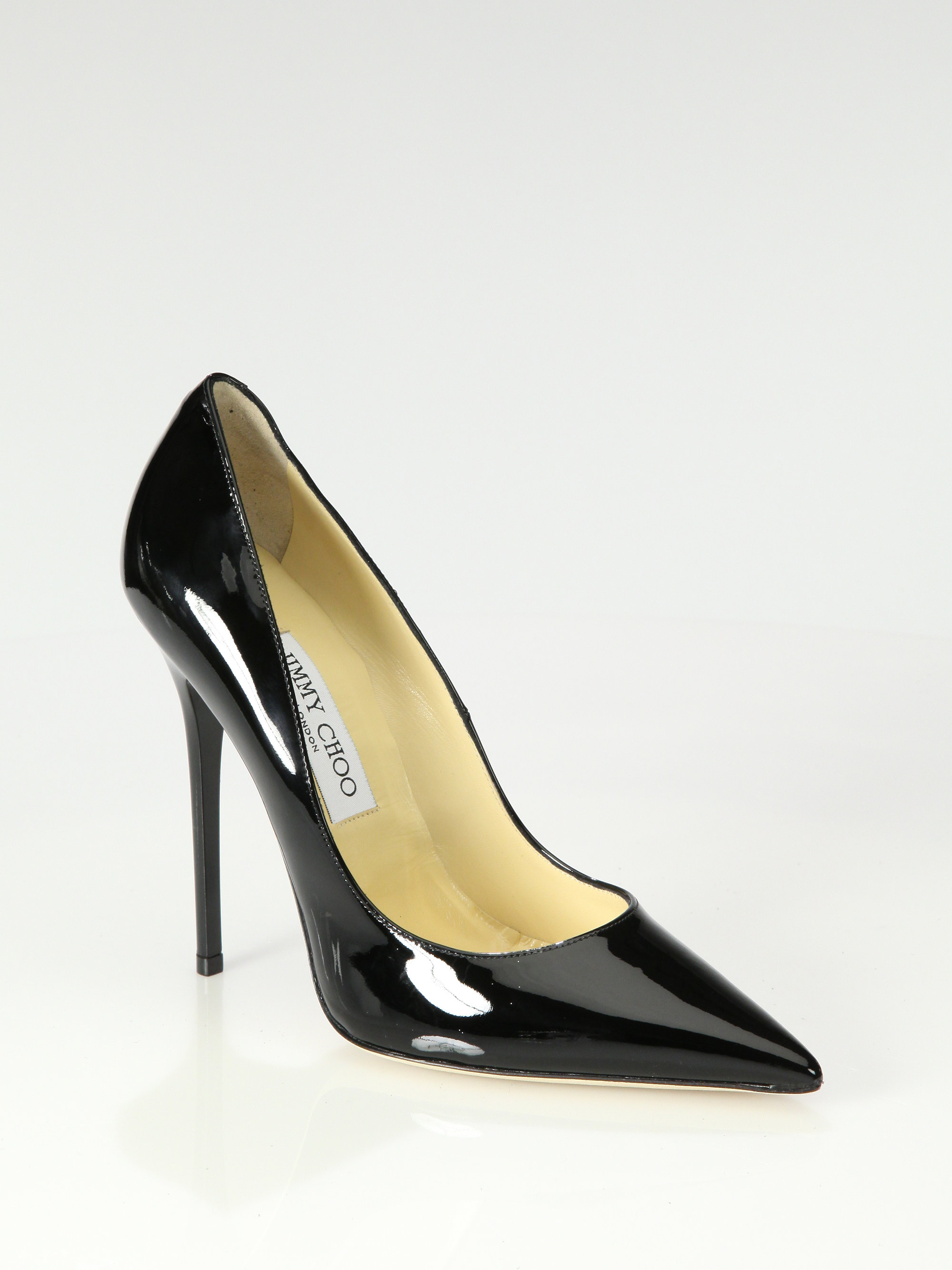 jimmy choo anouk patent leather point toe pumps in black