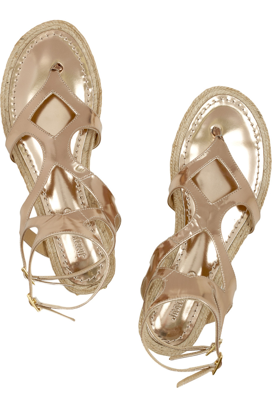 9656f2835b4c7 Jimmy Choo Peachy Metallic Leather Gladiator Sandals in Metallic - Lyst