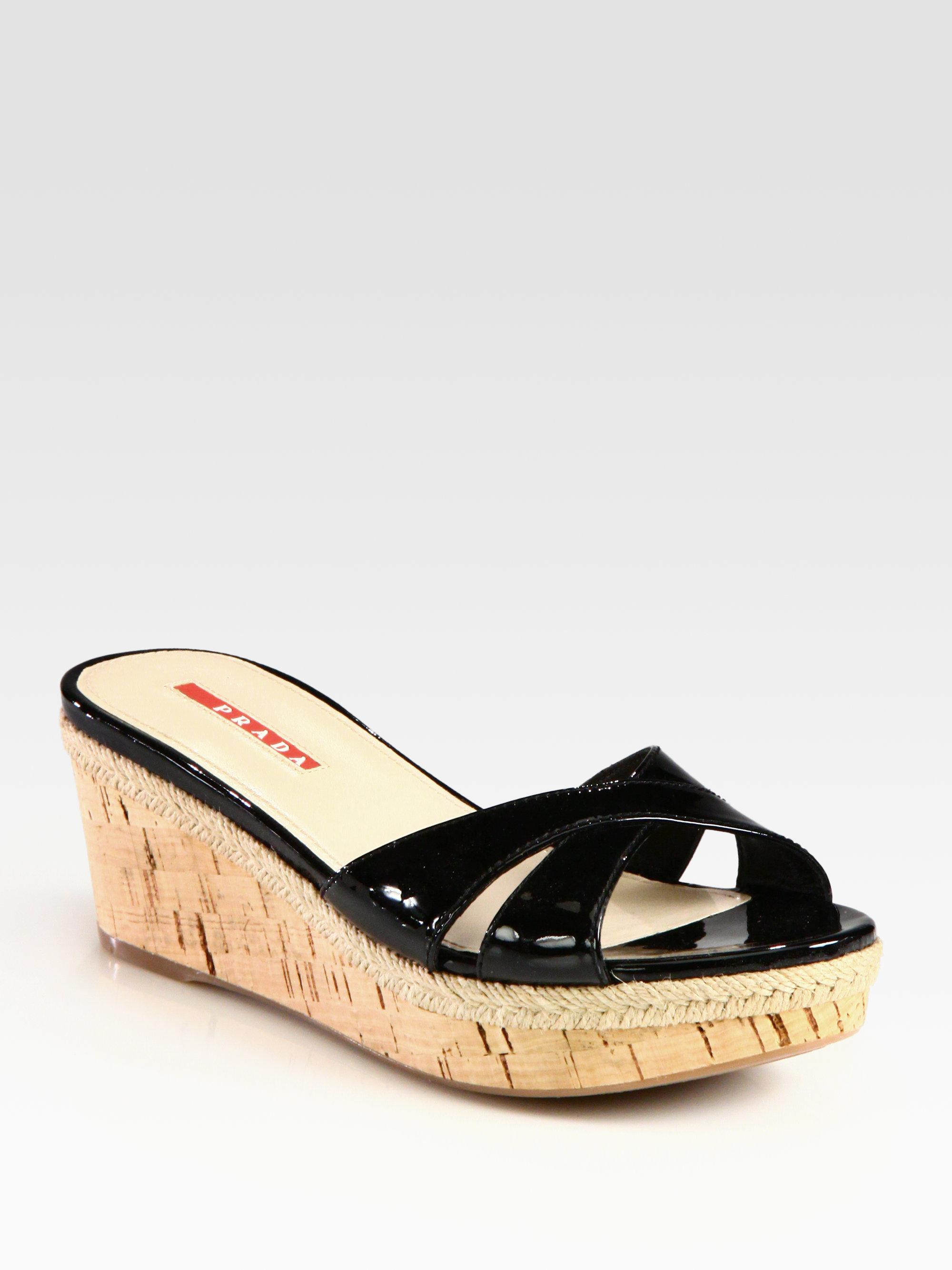 Lyst Prada Patent Leather Cork Wedge Slides In Black