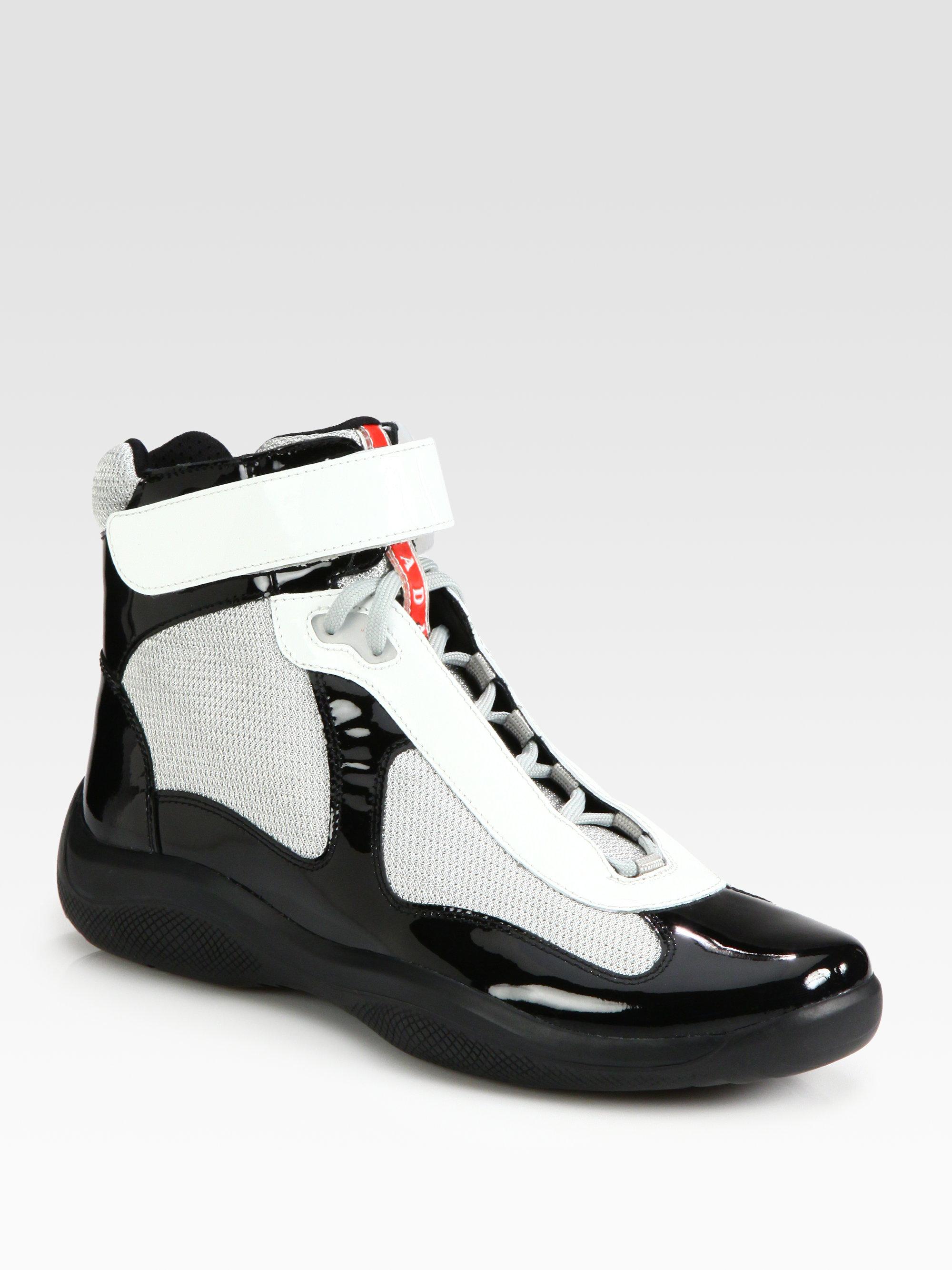 Lyst Prada Hightop Patent Sneakers In White
