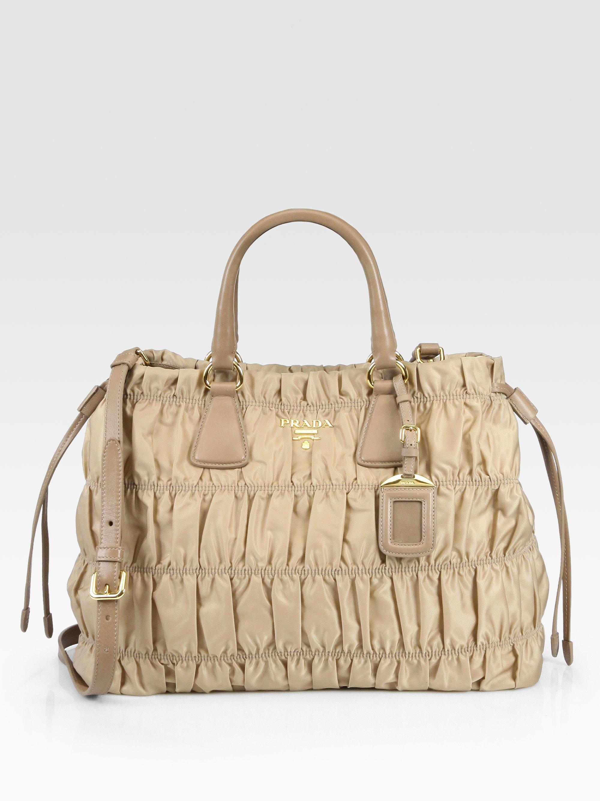 Prada Tessuto Gaufre Tote Bag in Beige (camel) | Lyst