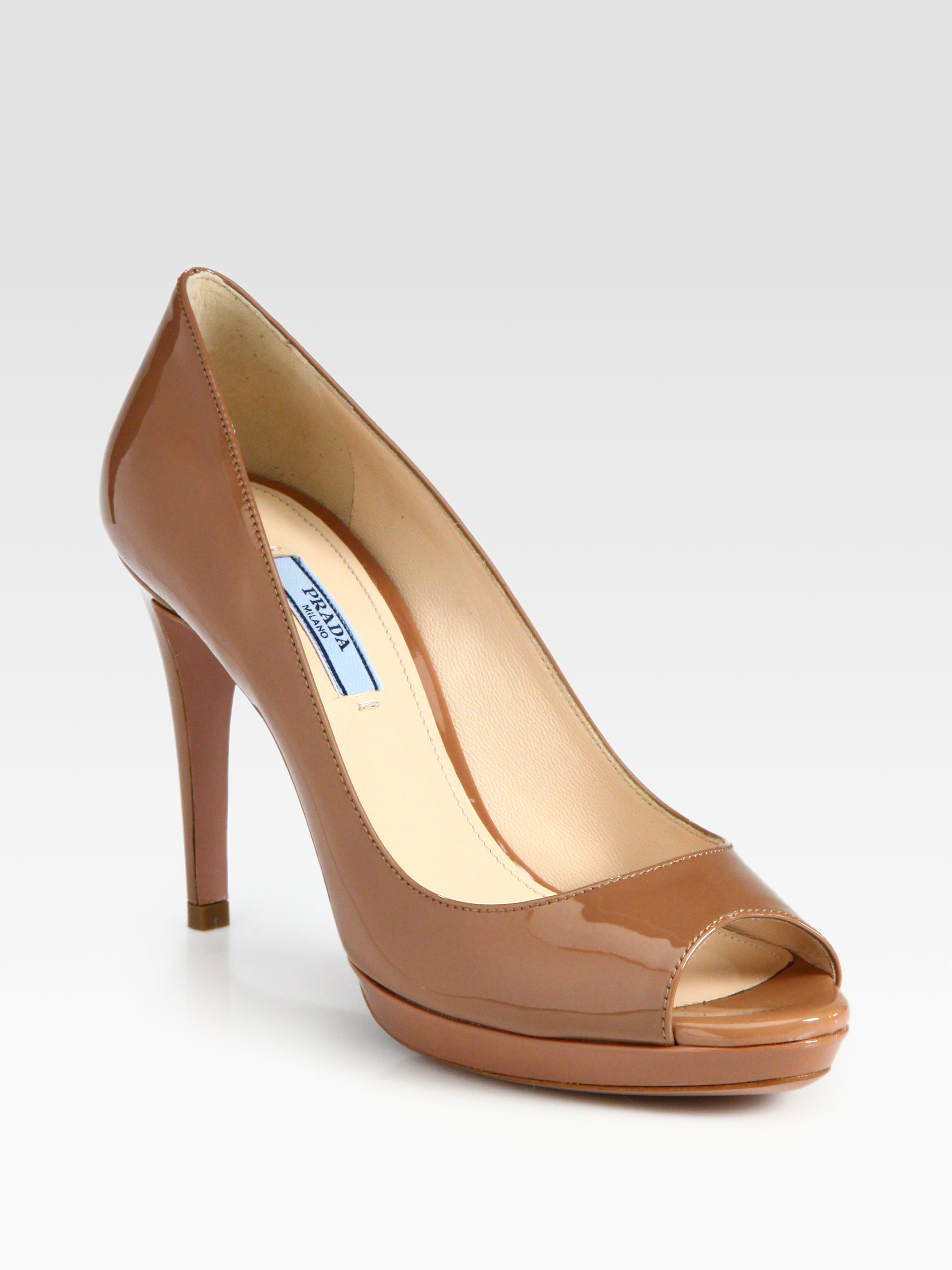 ee2fc6f4f35 Lyst - Prada Patent Leather Peep Toe Pumps in Brown