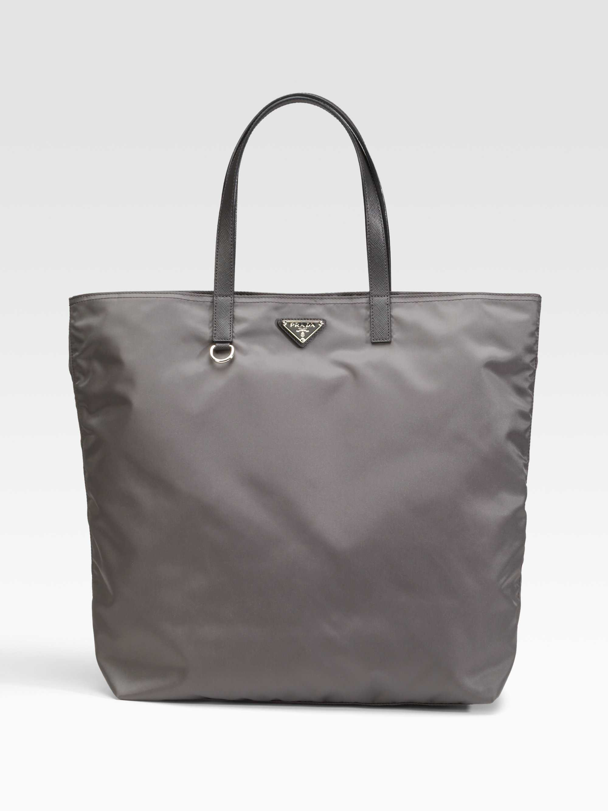 ... new style lyst prada vela nylon tote bag in gray 4e7ff dd5ff ec17b267461ff