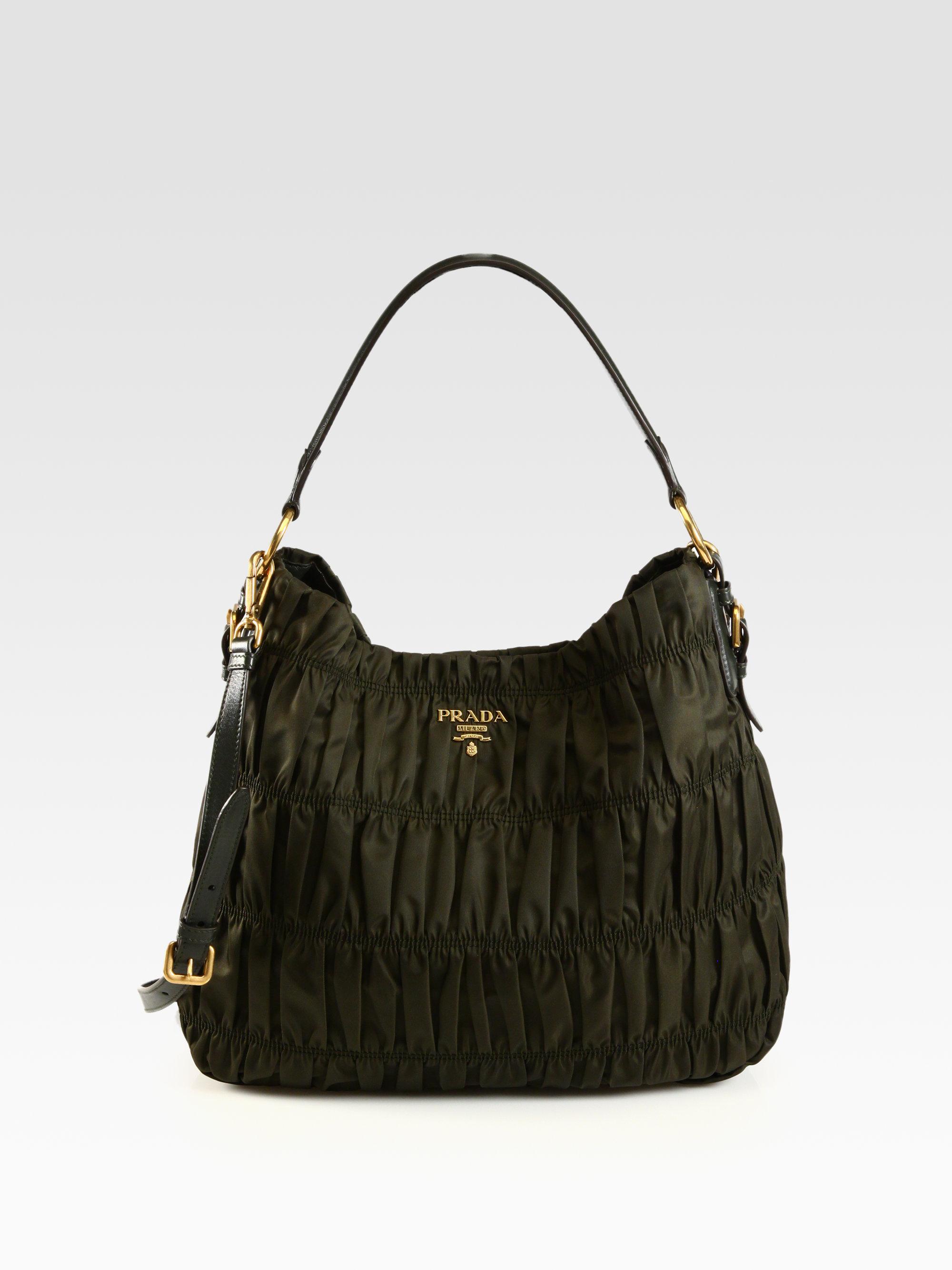 ... tote bag luxury bags wallets handbags on carousell 6f01e 0905e  where  to buy lyst prada tessuto gaufre ruched nylon hobo in green b5b11 5bcbd c3eb9fa26bfe3