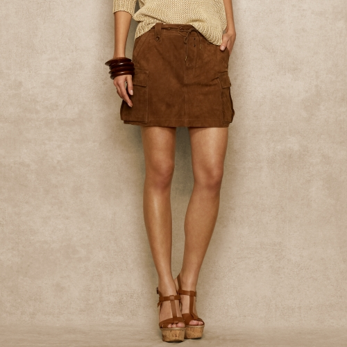 Ralph lauren blue label Suede Mini Skirt in Brown | Lyst