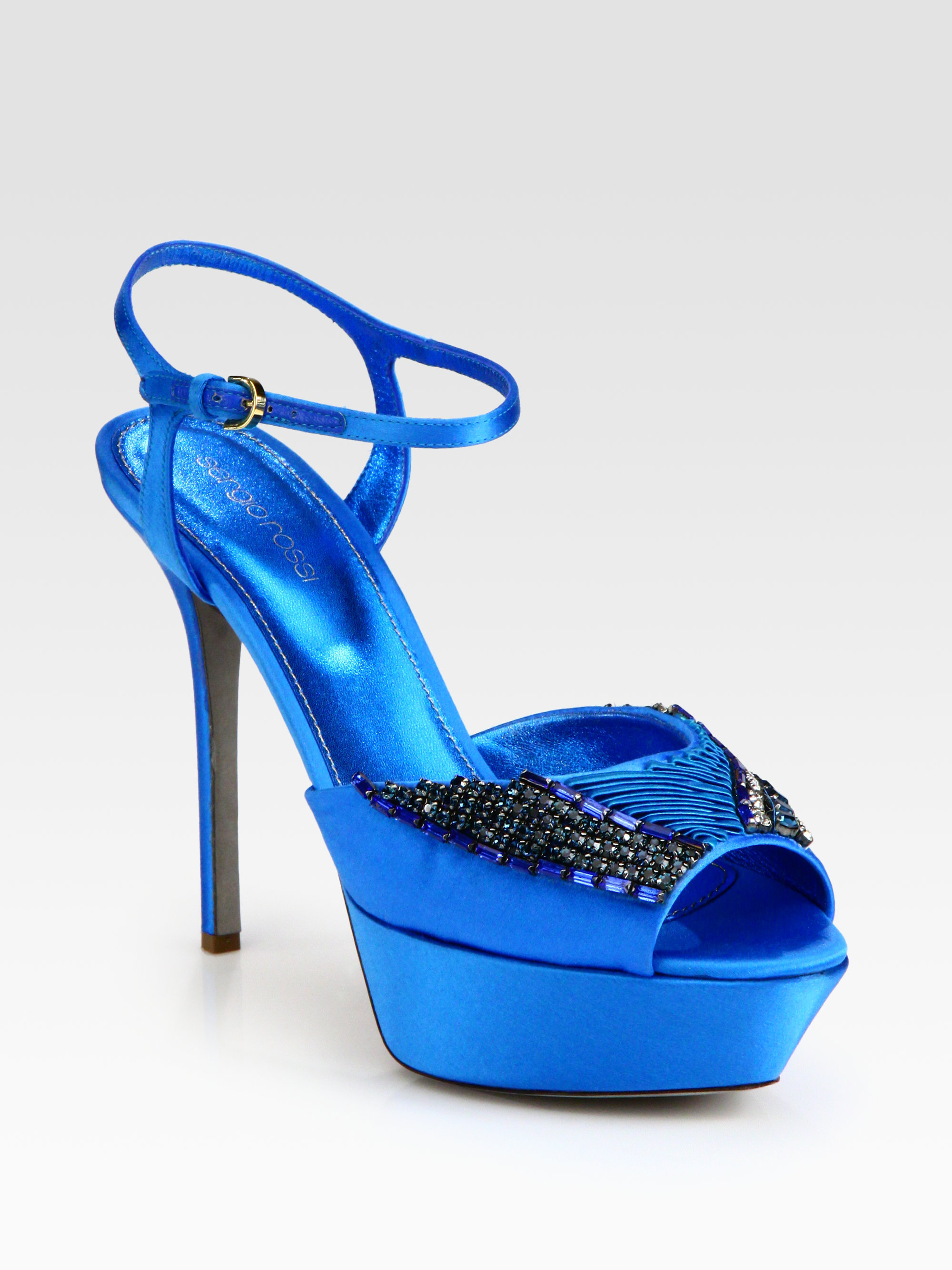sergio rossi embellished satin platform sandals in blue lyst. Black Bedroom Furniture Sets. Home Design Ideas
