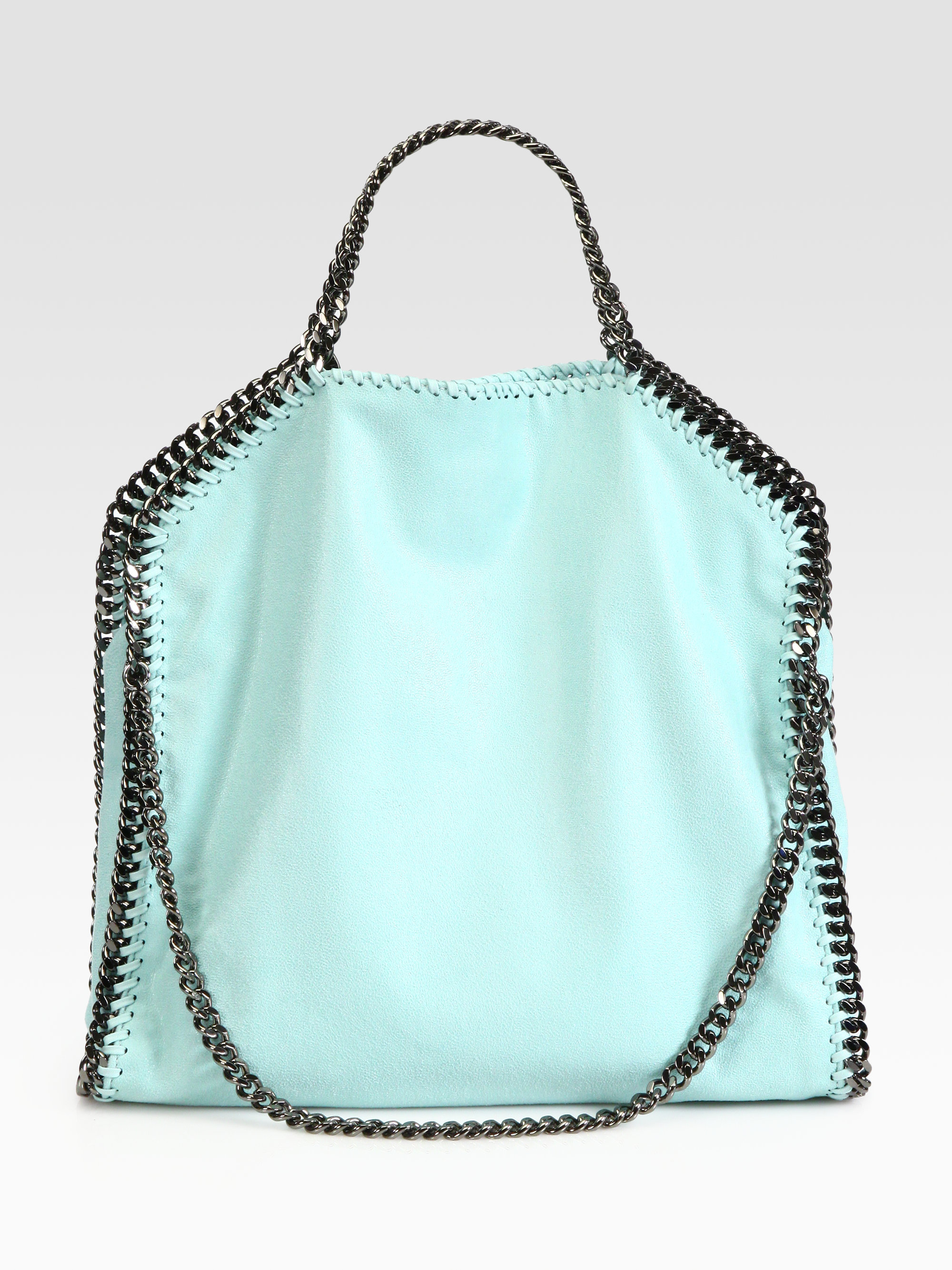 c3ee146e39ec stella mccartney shaggy deer falabella fold over small tote in black duck  blue lyst