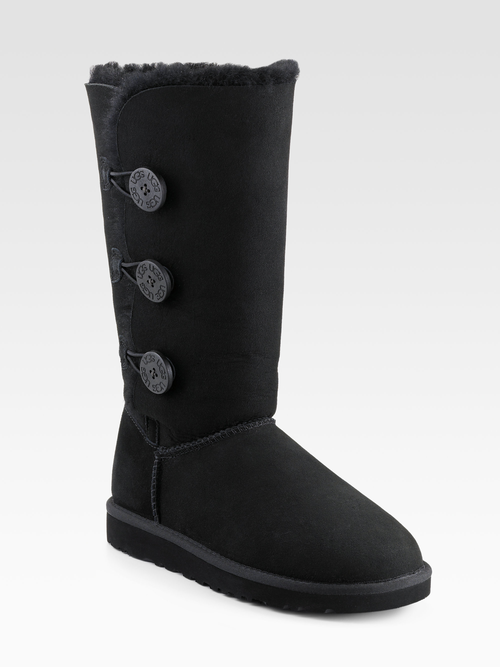 Ugg Tall Bailey Button Triplet Suede Amp Sheepskin Boots In