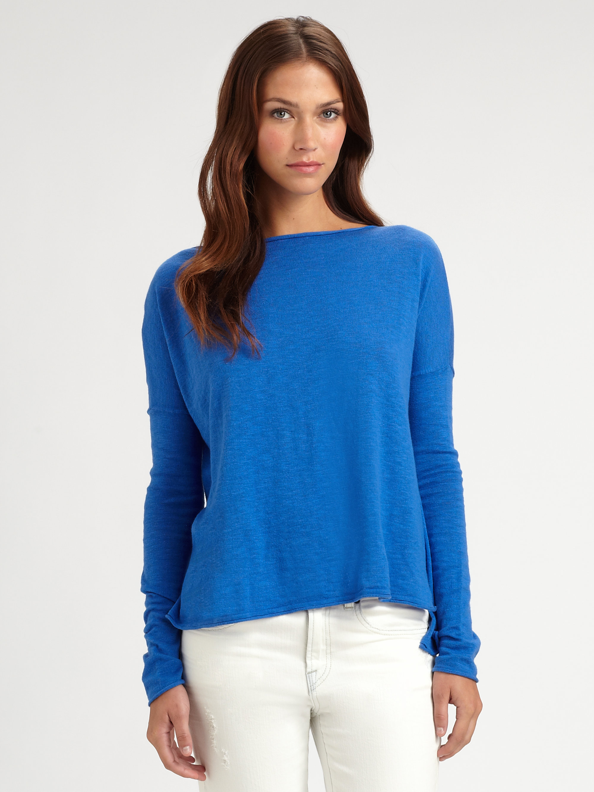 Vince Oversized Boatneck Slub Cotton Sweater in Blue | Lyst