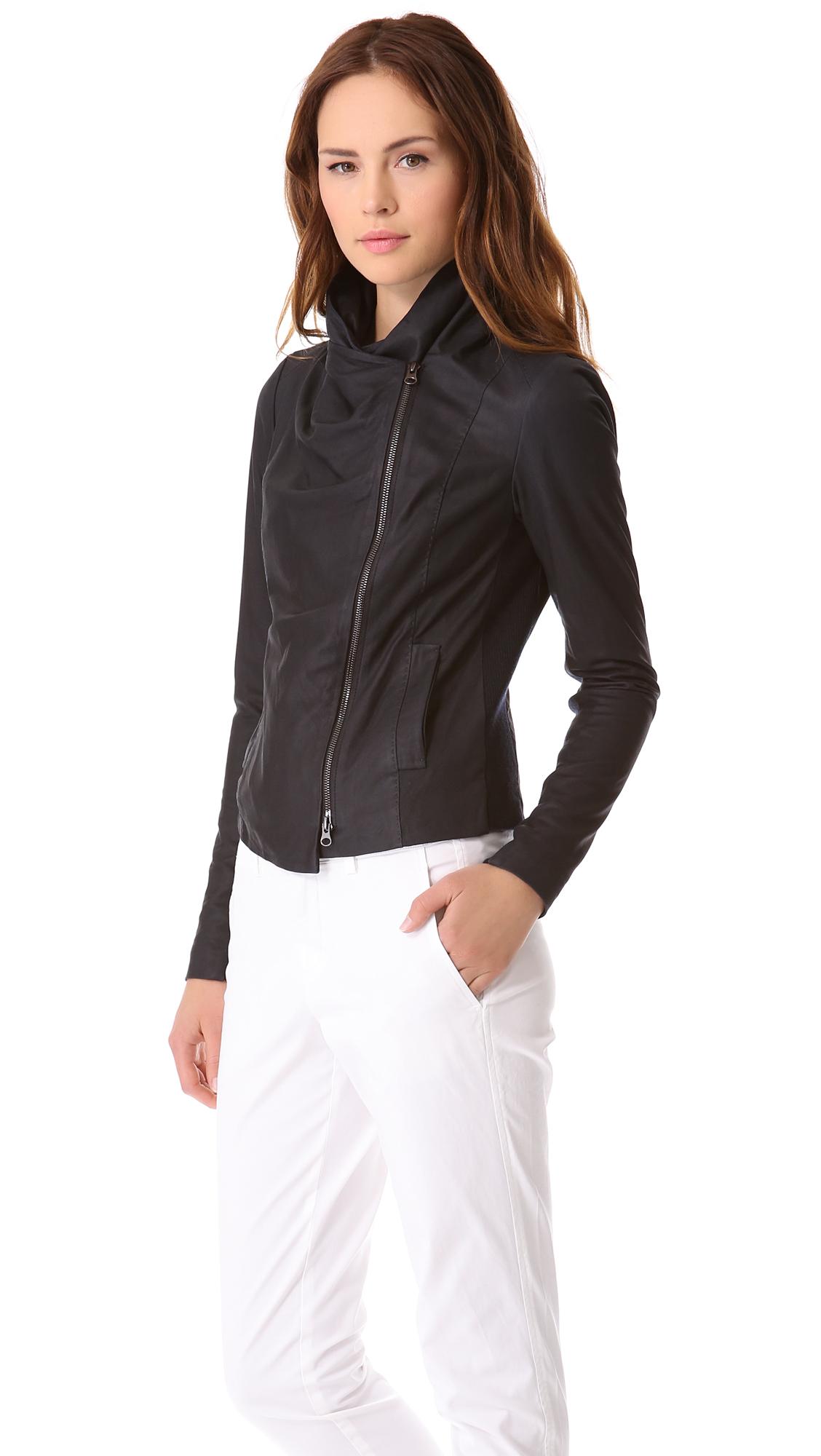 Lyst Vince Paper Leather Scuba Jacket In Black