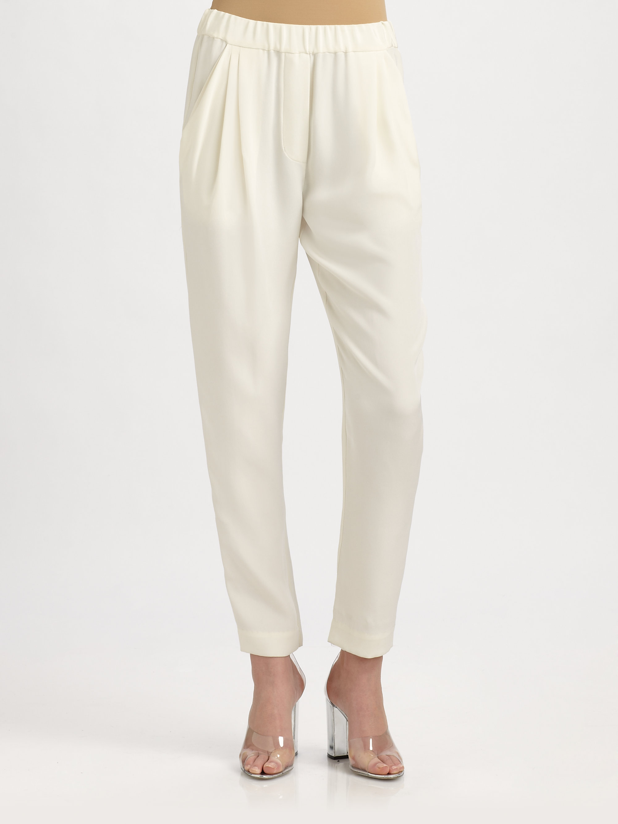 3.1 phillip lim Silk Ankle Pants in White | Lyst