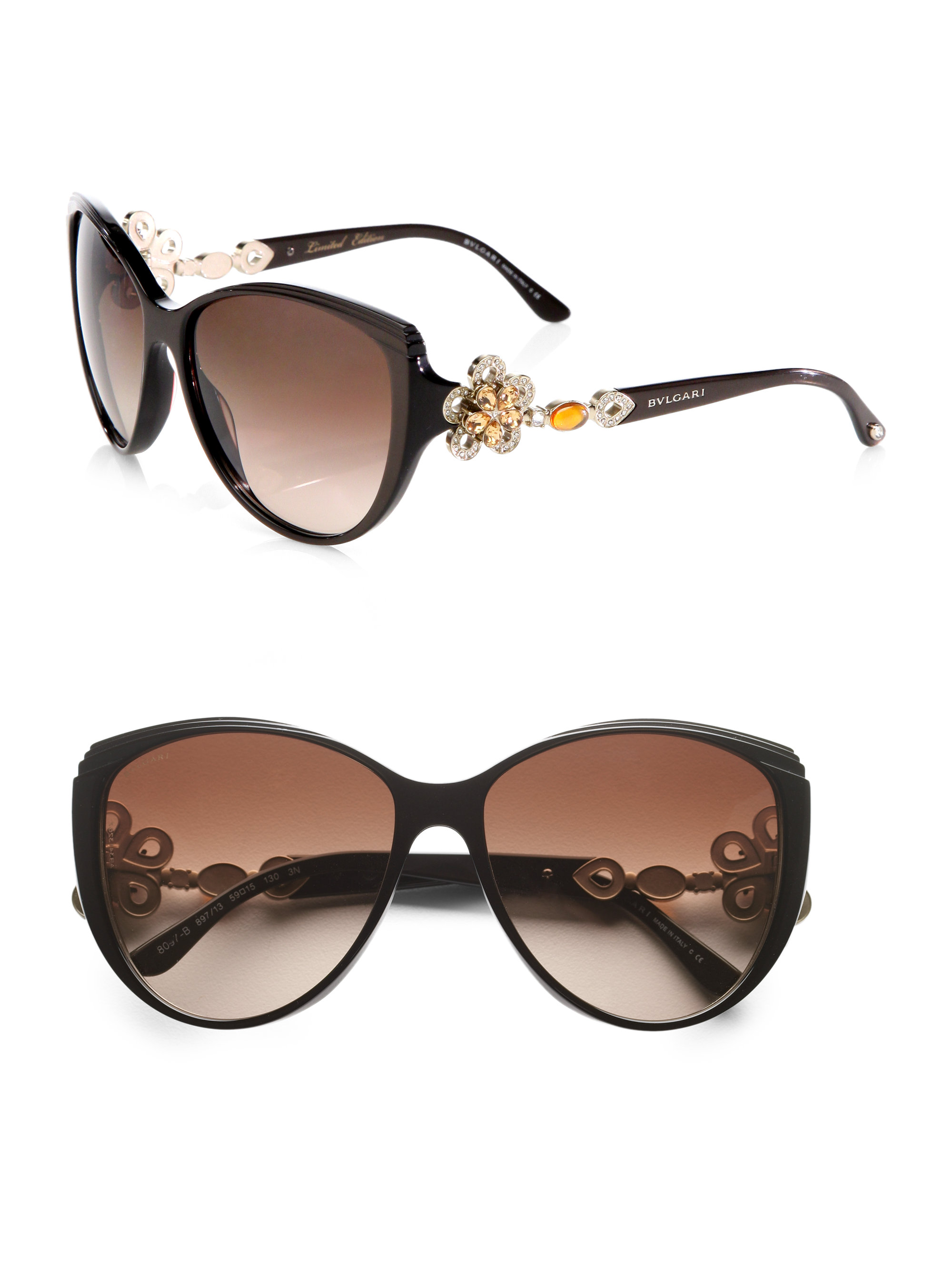 Lyst - Bvlgari Crystal Accented Butterfly Catseye Sunglasses in Brown