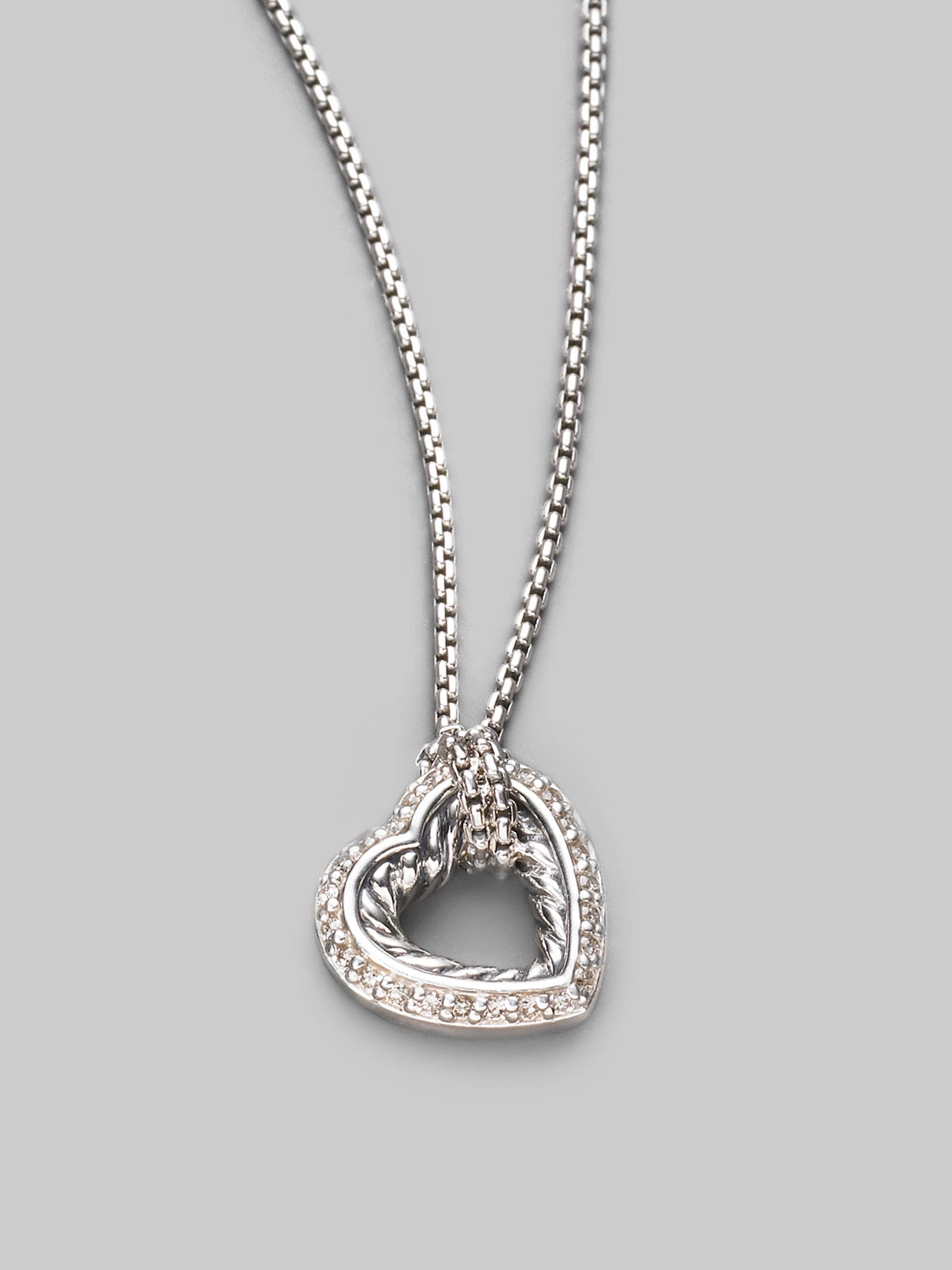david yurman diamond sterling silver open heart necklace. Black Bedroom Furniture Sets. Home Design Ideas
