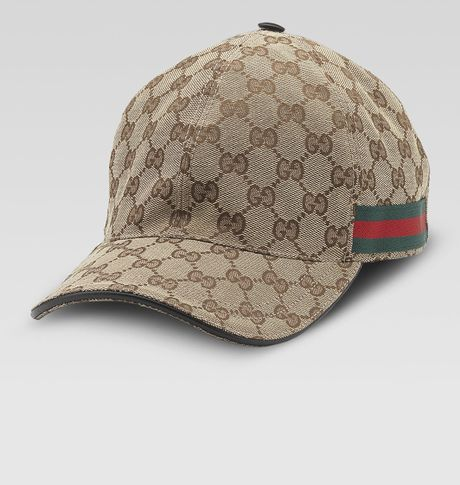 gucci canvas baseball hat in brown for beige