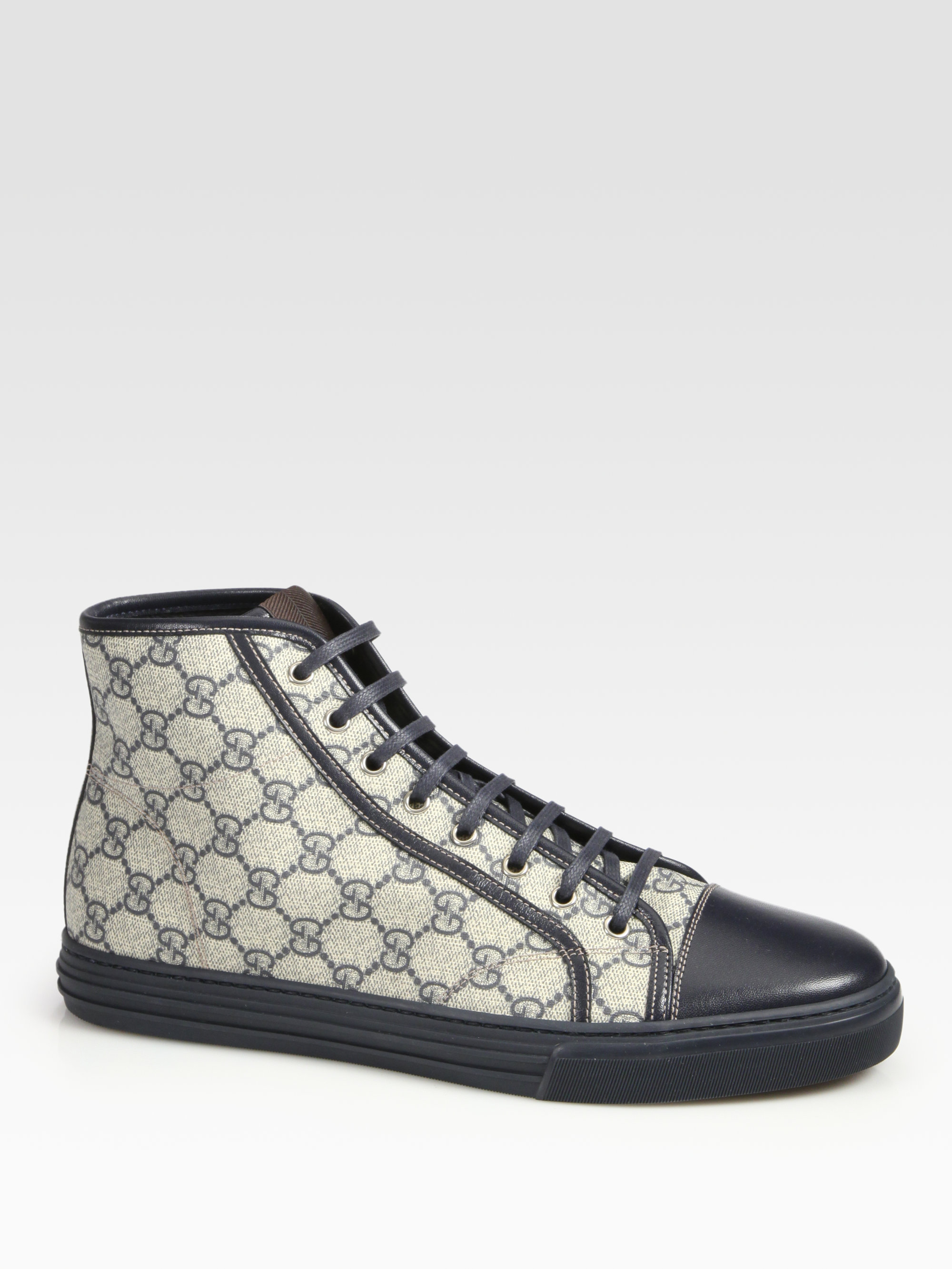 1ec99ace35d Lyst - Gucci California High-Top Lace-Up Sneakers in Blue for Men