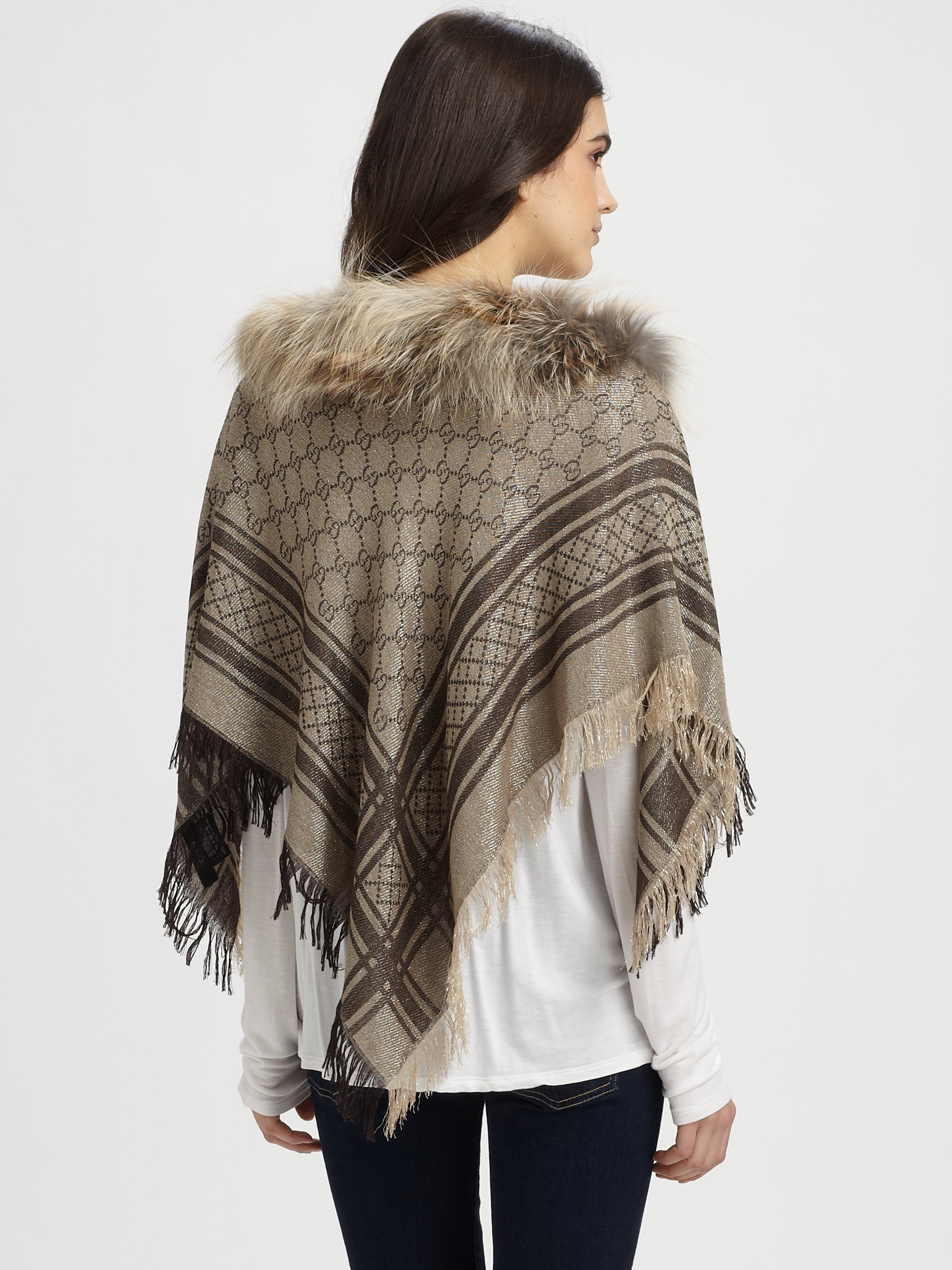 c3f6fe142d5 Lyst - Gucci Fox Fur Miniponce Ponchonatural in Brown