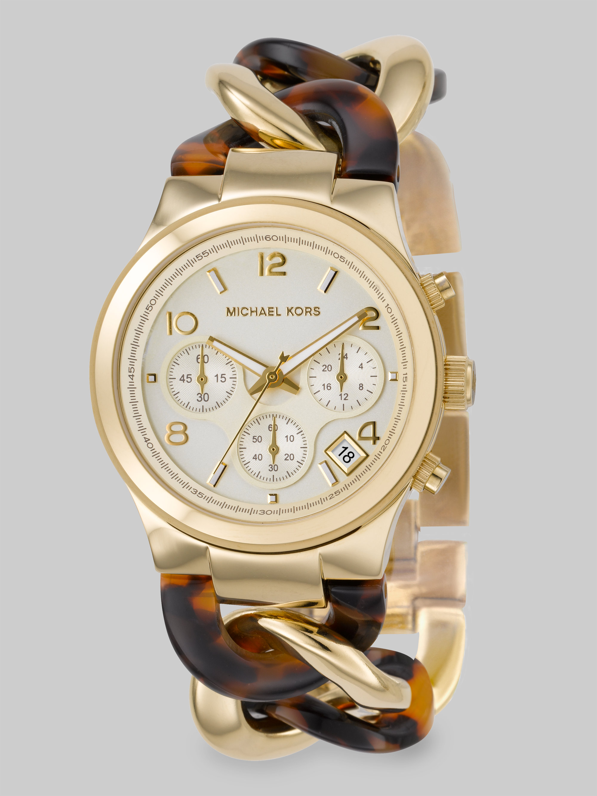 goldtone watch gold stainless product michael gallery kors link watches lyst accessories bracelet steel channing chain normal