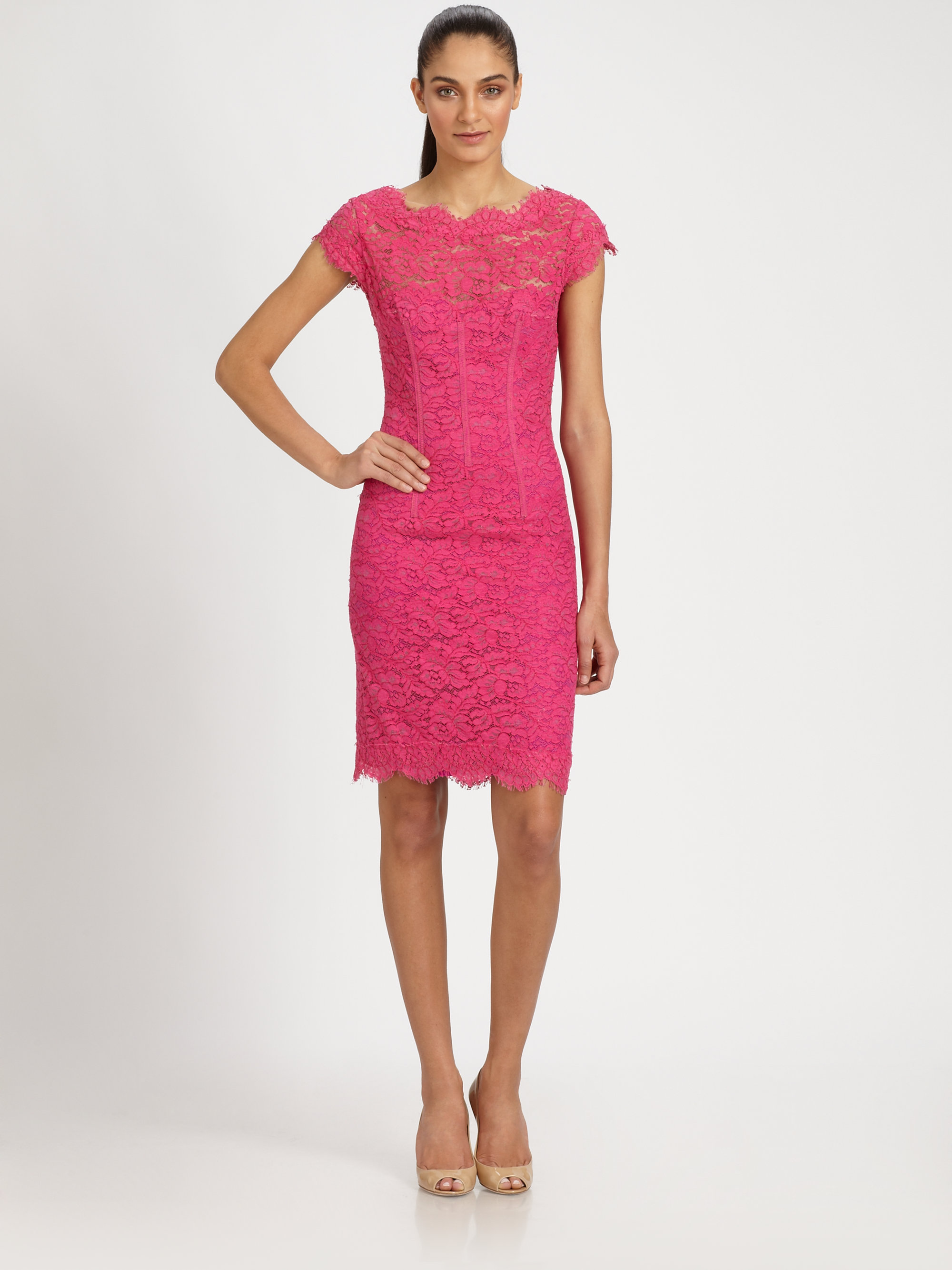 Lyst - Ml monique lhuillier Diamondback Lace Dress in Pink