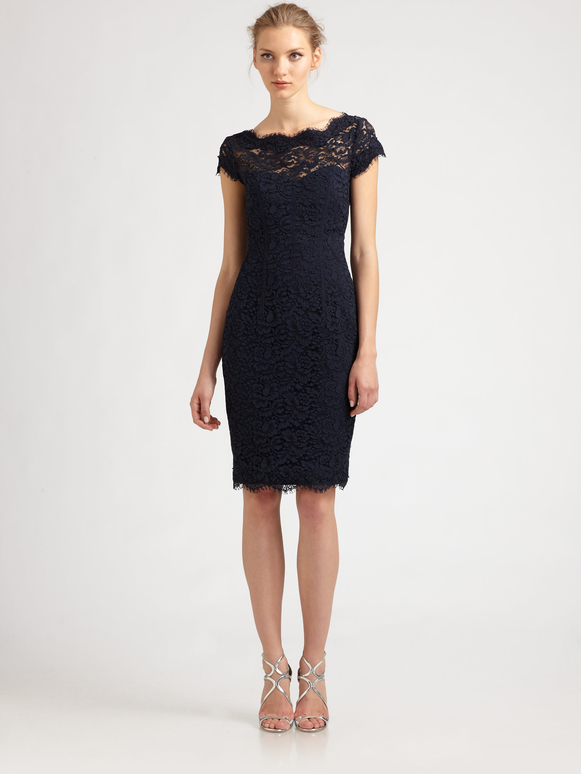 Lyst - Ml monique lhuillier Diamondback Lace Dress in Blue