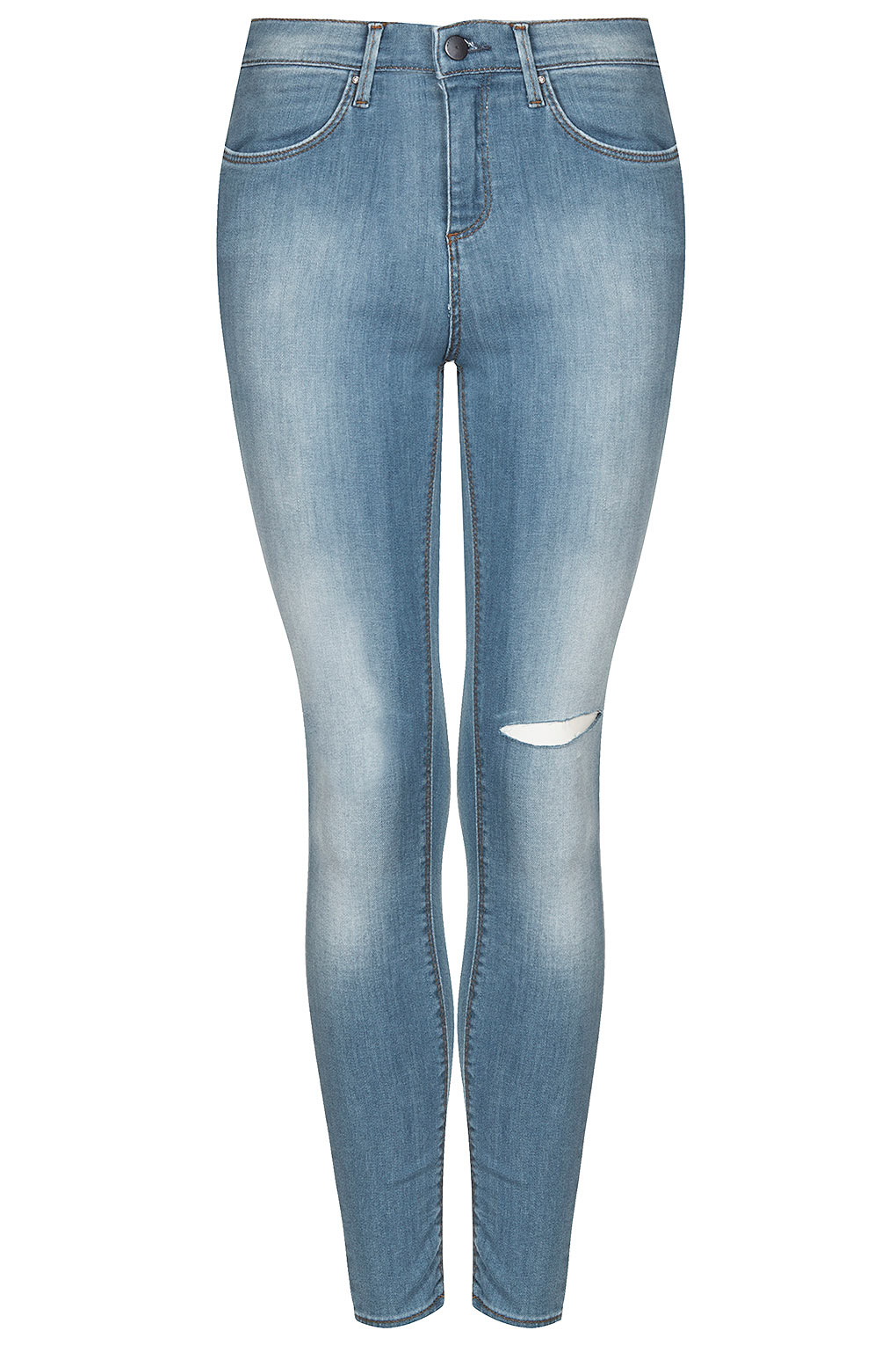 Topshop Bleach Ripped Knee Skinny Jeans in Blue | Lyst
