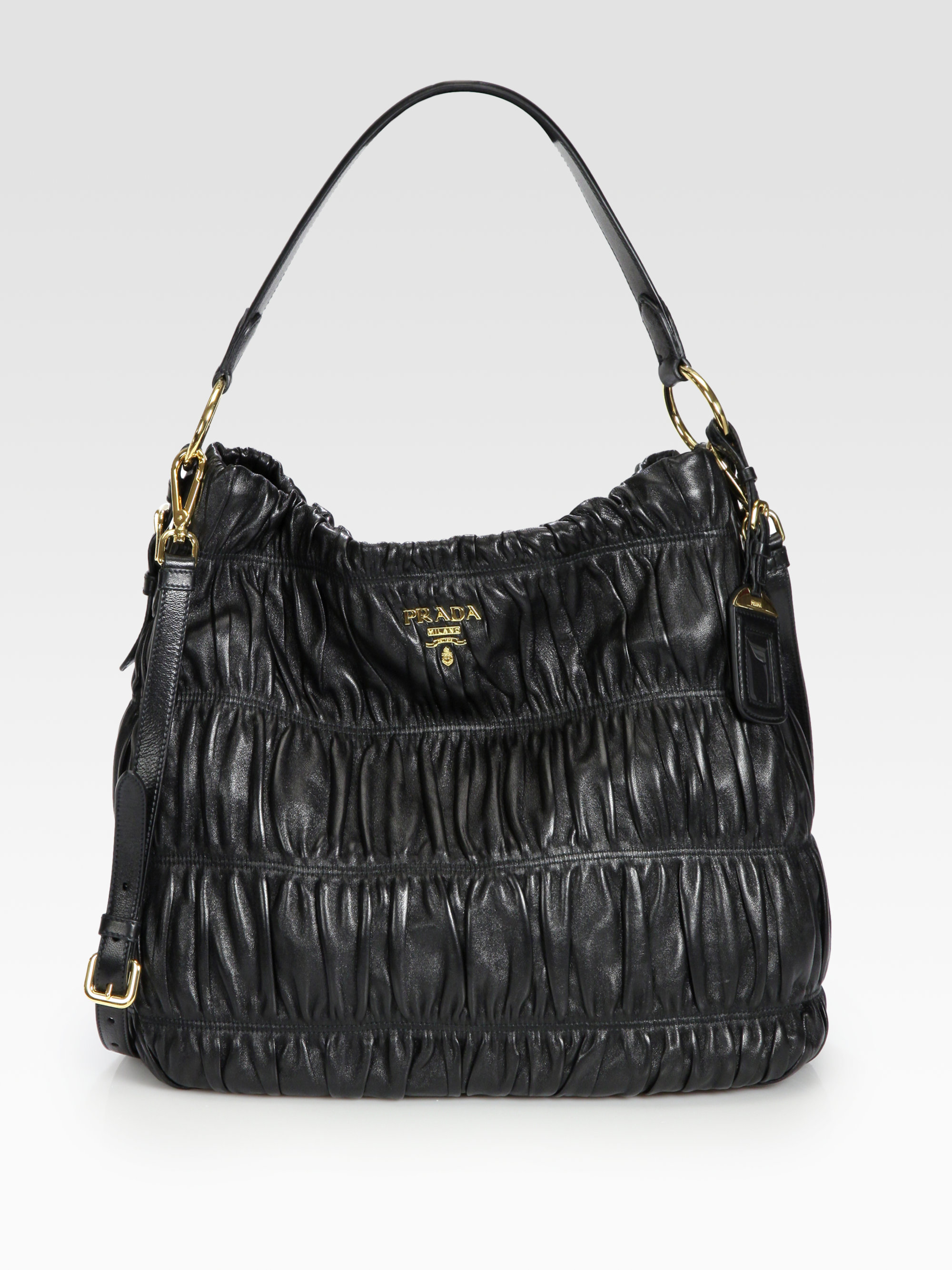 Prada Nappa Gaufre Ruched Leather Hobo in Black | Lyst