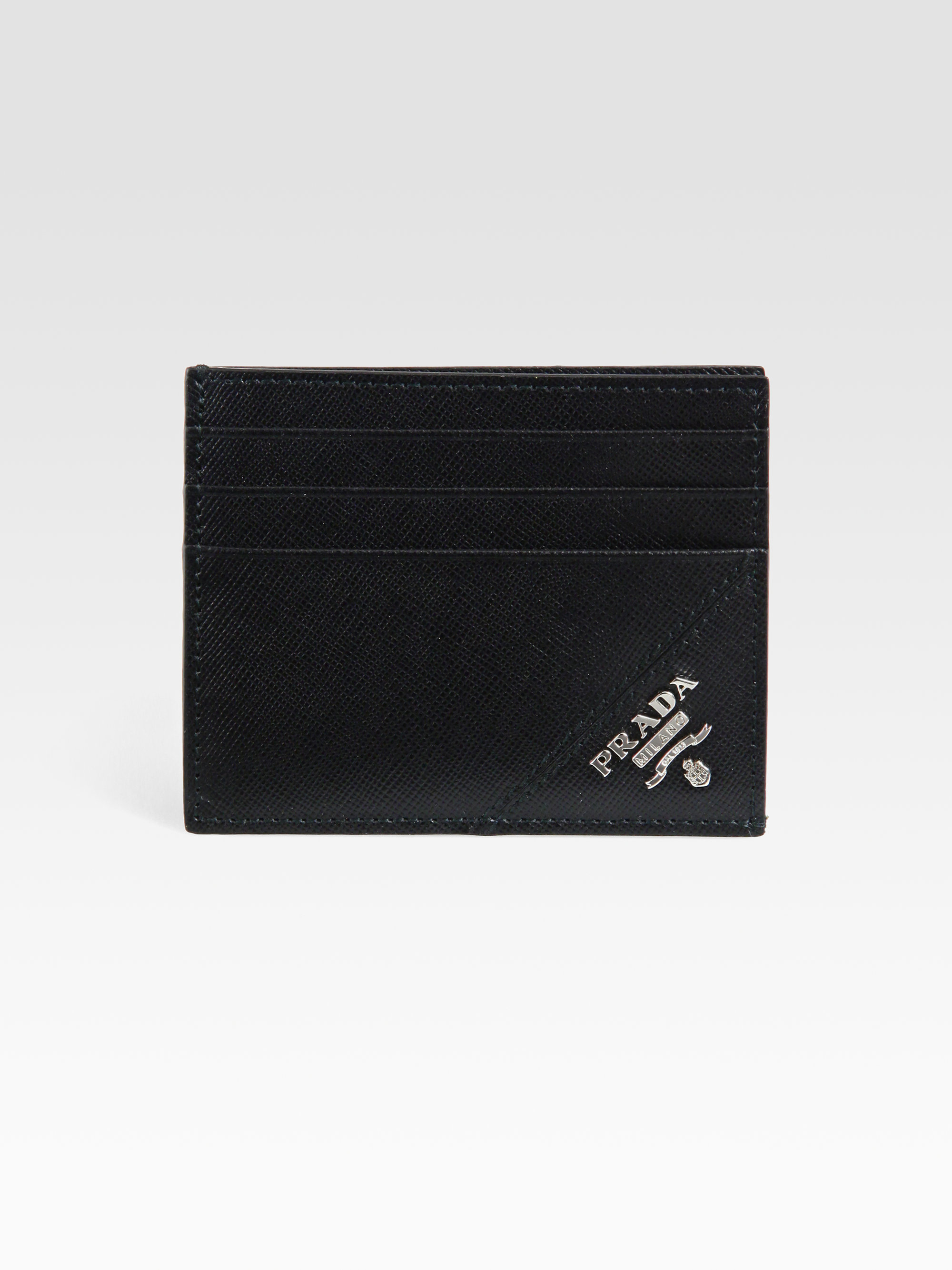 8c587346a127 Prada Saffiano Leather Credit Card Case in Black - Lyst