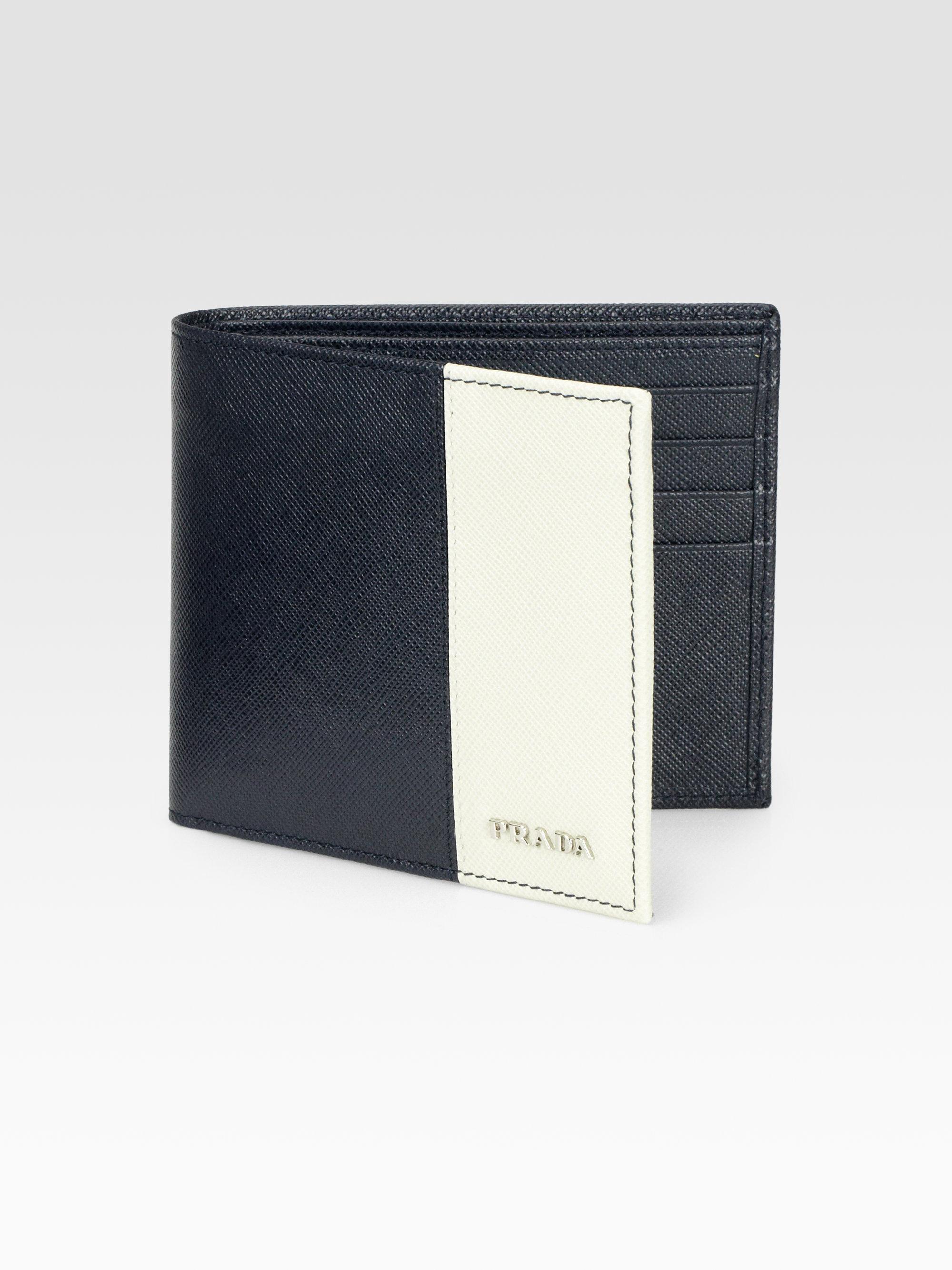 Prada Leather Wallet in Blue for Men (blue-white) | Lyst