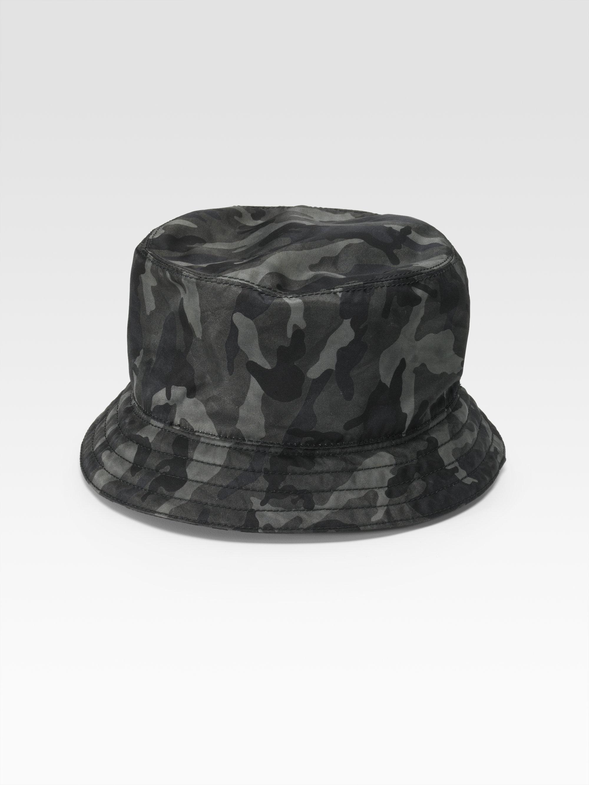 00b332e75d0 Lyst - Prada Tessuto Nylon Bucket Hat in Gray for Men