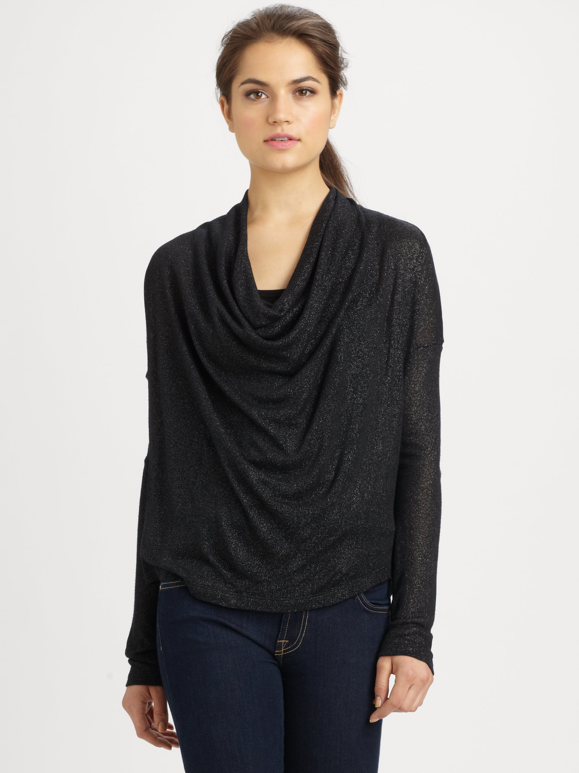 Splendid Sparkle Cowlneck Sweater in Black | Lyst