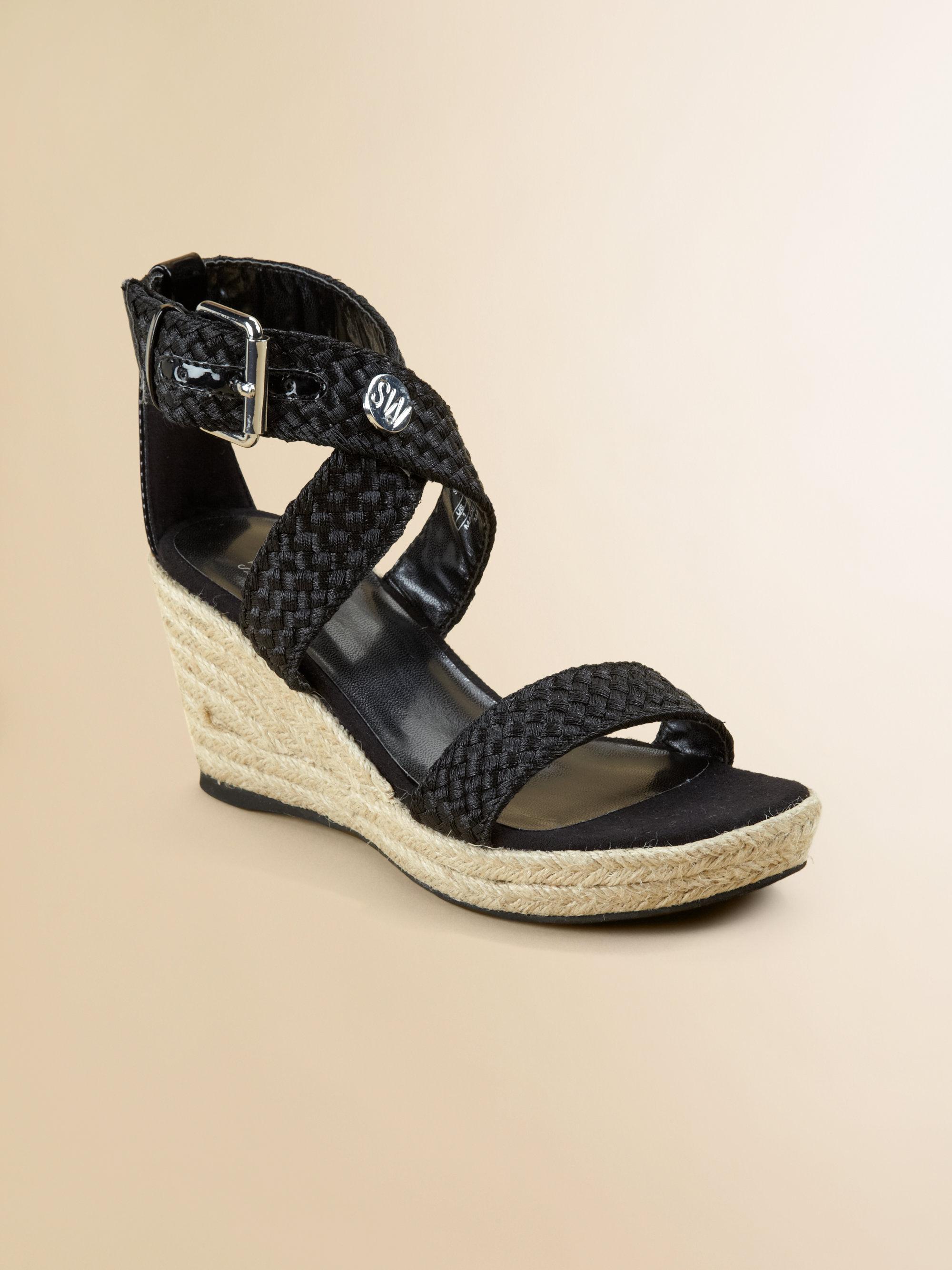 stuart weitzman braided wedge sandals in black lyst