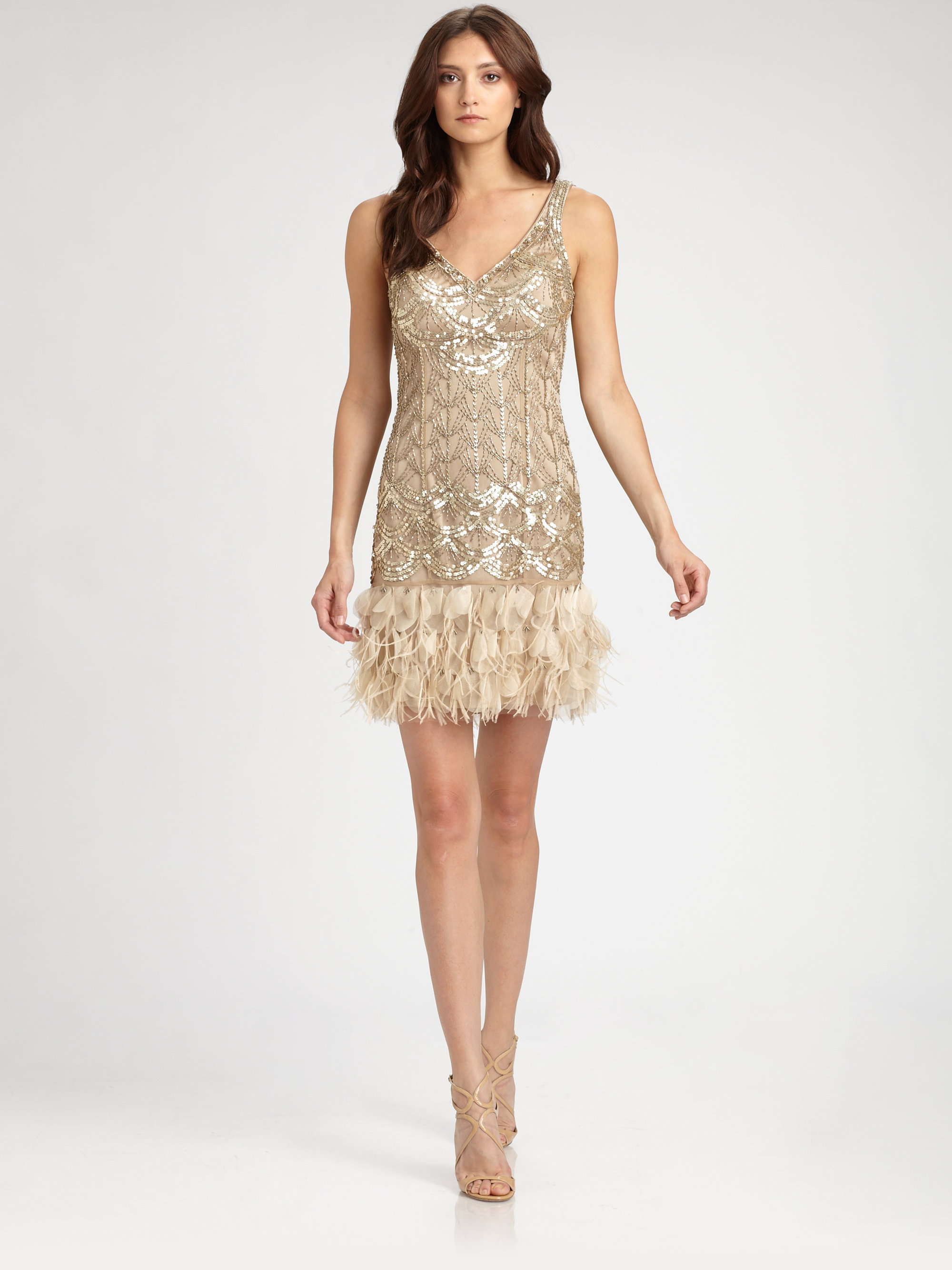 Sue wong Feathertrimmed Sequined Dress in Metallic  Lyst