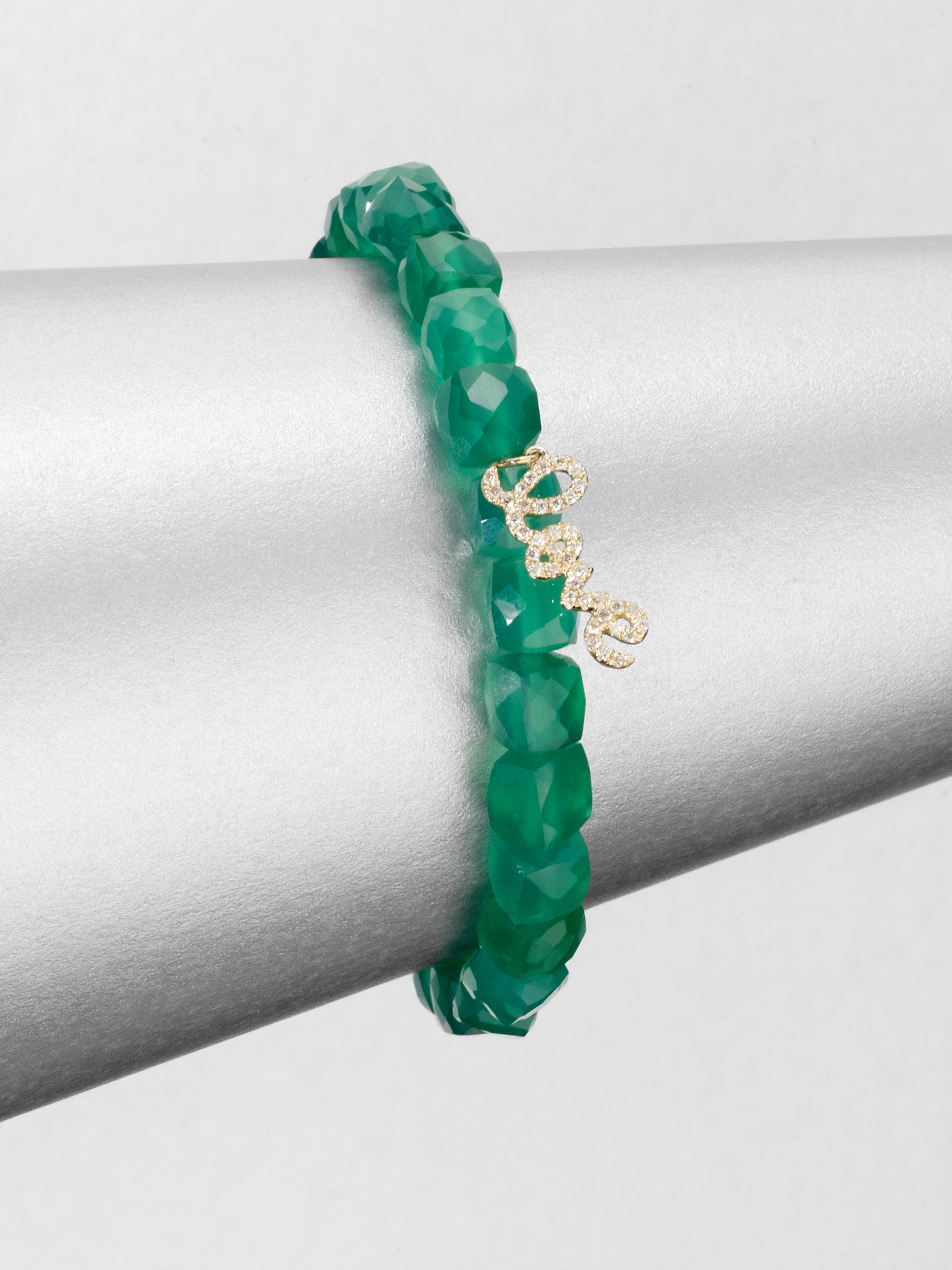 Sydney Evan 8mm Green Silverite Cube Beaded Bracelet w/14K Gold Diamond Rondelle KytxDj