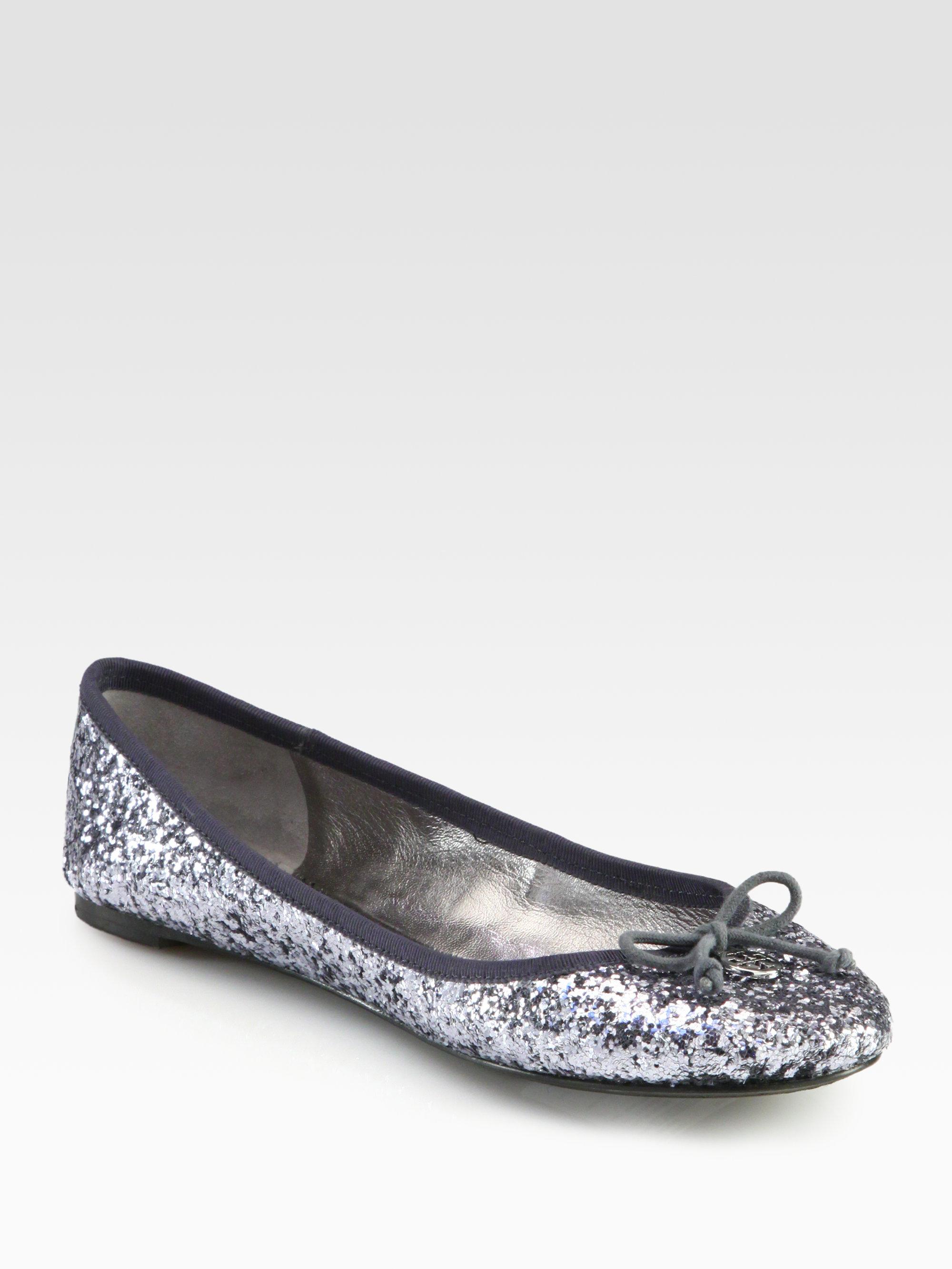 9643819b1d4f Tory Burch Chelsea Glitter Ballet Flats in Metallic - Lyst