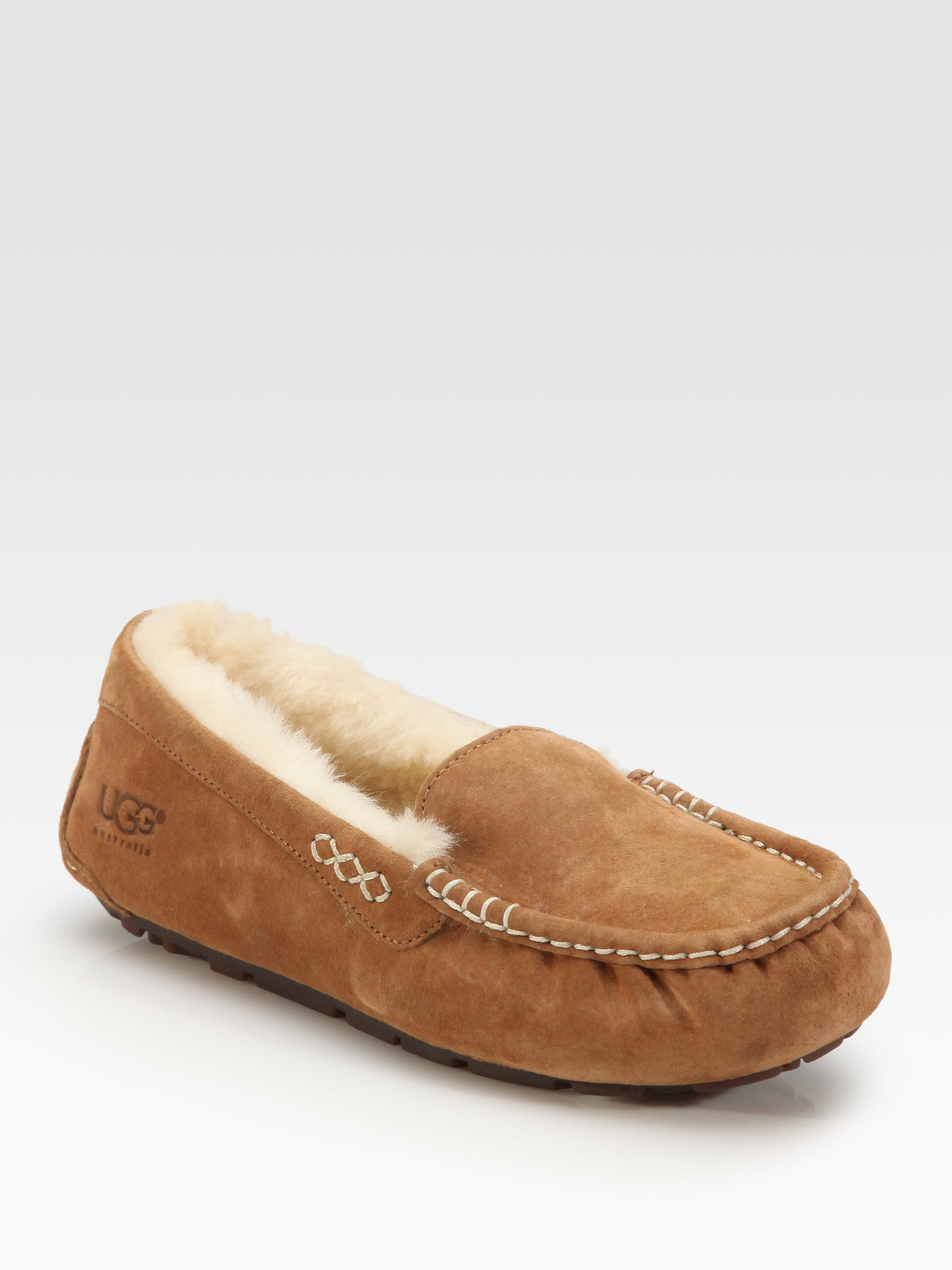 ugg ansley suede slippers in brown lyst