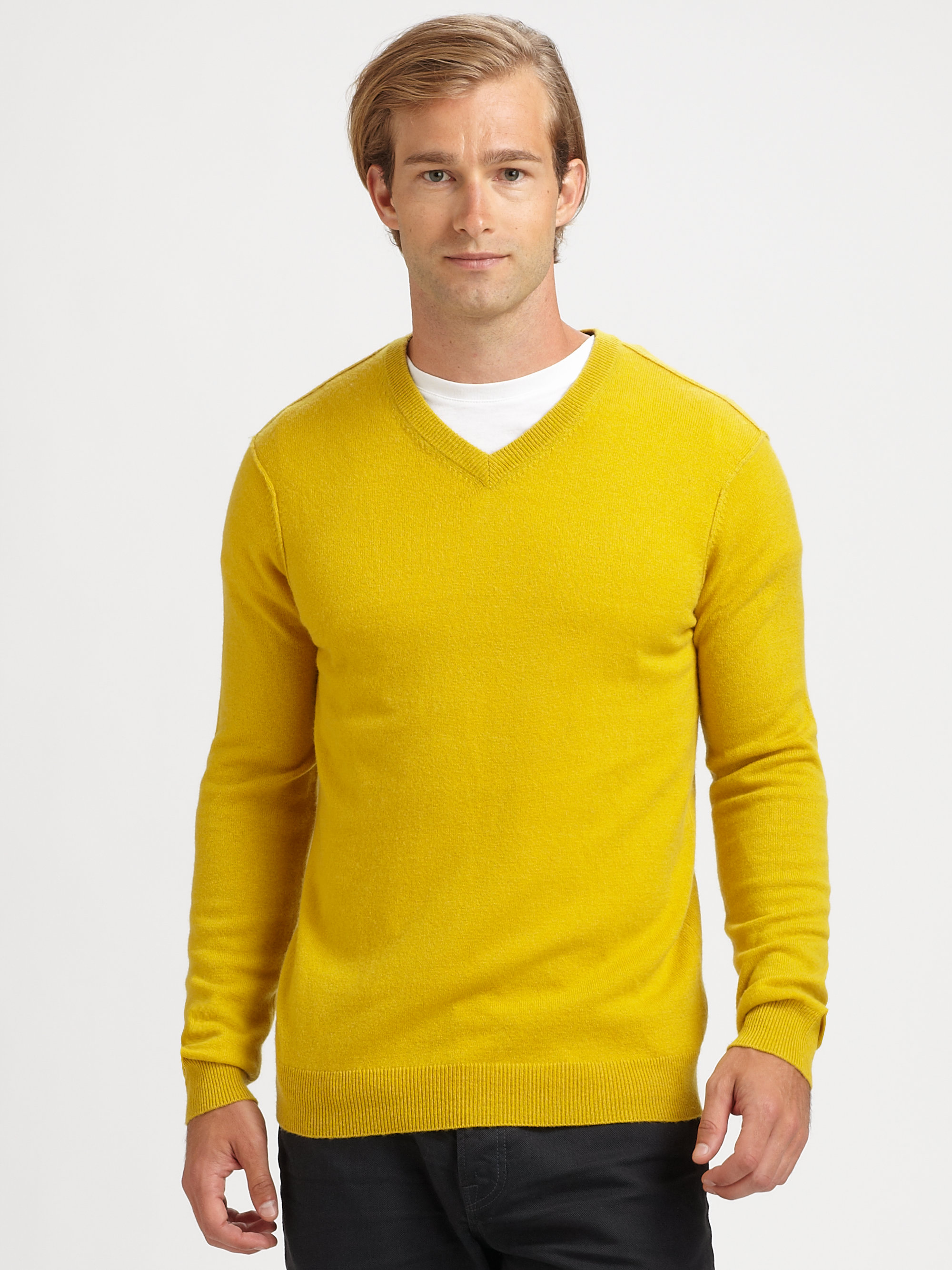 Vince Cashmere V-neck Sweater in Yellow for Men | Lyst