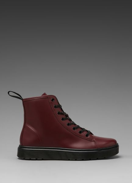 Dr Martens Mayer Lace To Toe Boot In Cherry Red In Brown