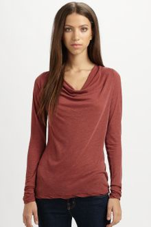 James Perse Cowlneck Jersey Top - Lyst