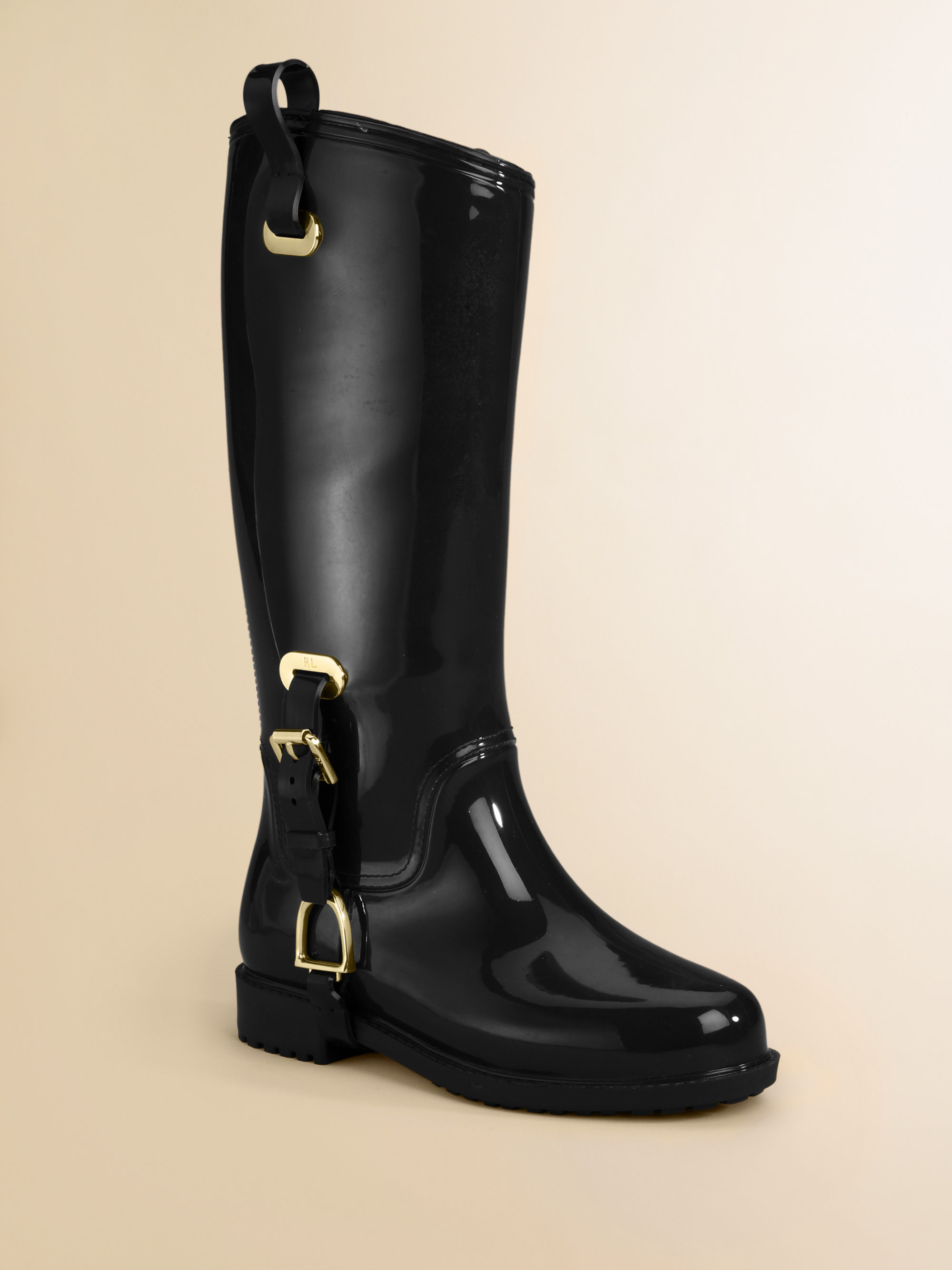 Ralph lauren Kids Glossy Rainboots in Black | Lyst