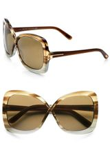 Tom Ford Calgary Acetate Butterfly Sunglasses Striped Brown