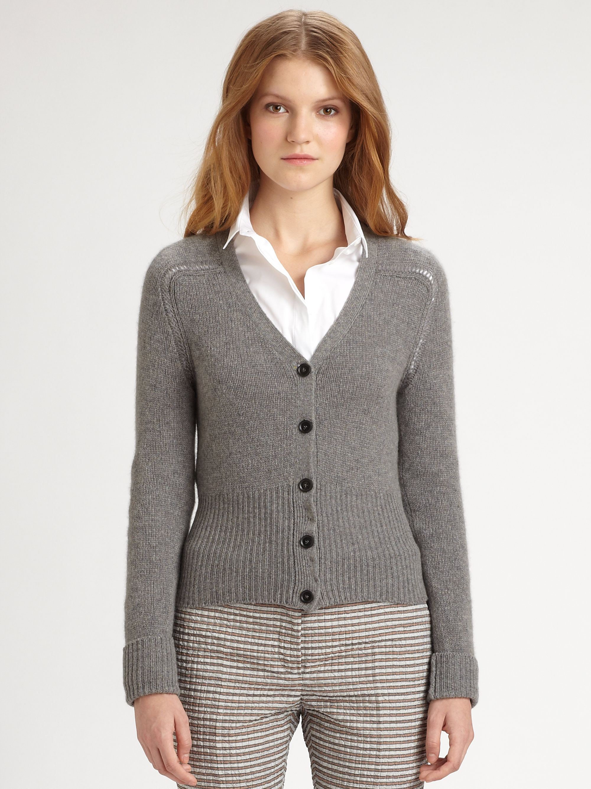Burberry prorsum Cashmere Cardigan in Gray | Lyst