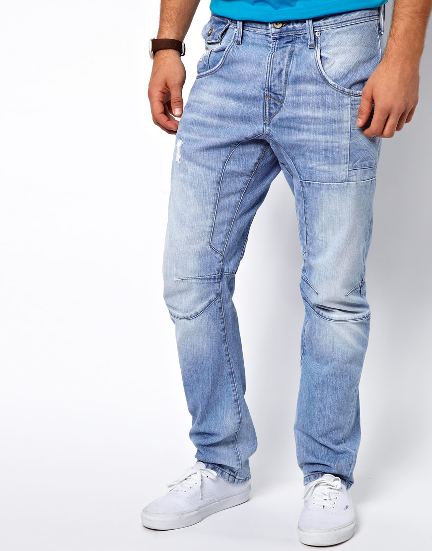 lyst huf jack jones stan osaka jeans in anti fit in blue. Black Bedroom Furniture Sets. Home Design Ideas
