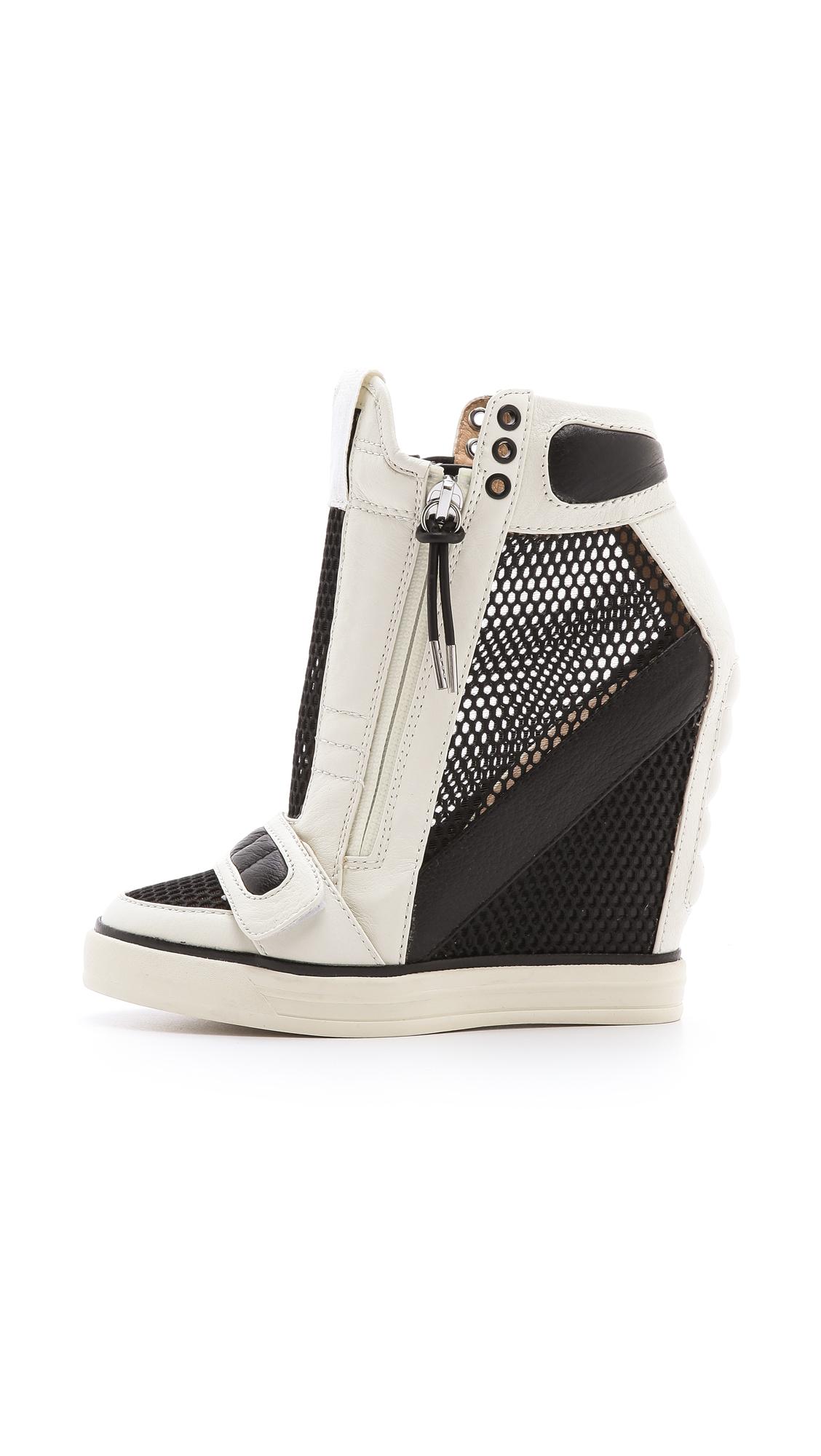 L A M B Pamela Mesh Wedge Sneakers In Black Lyst