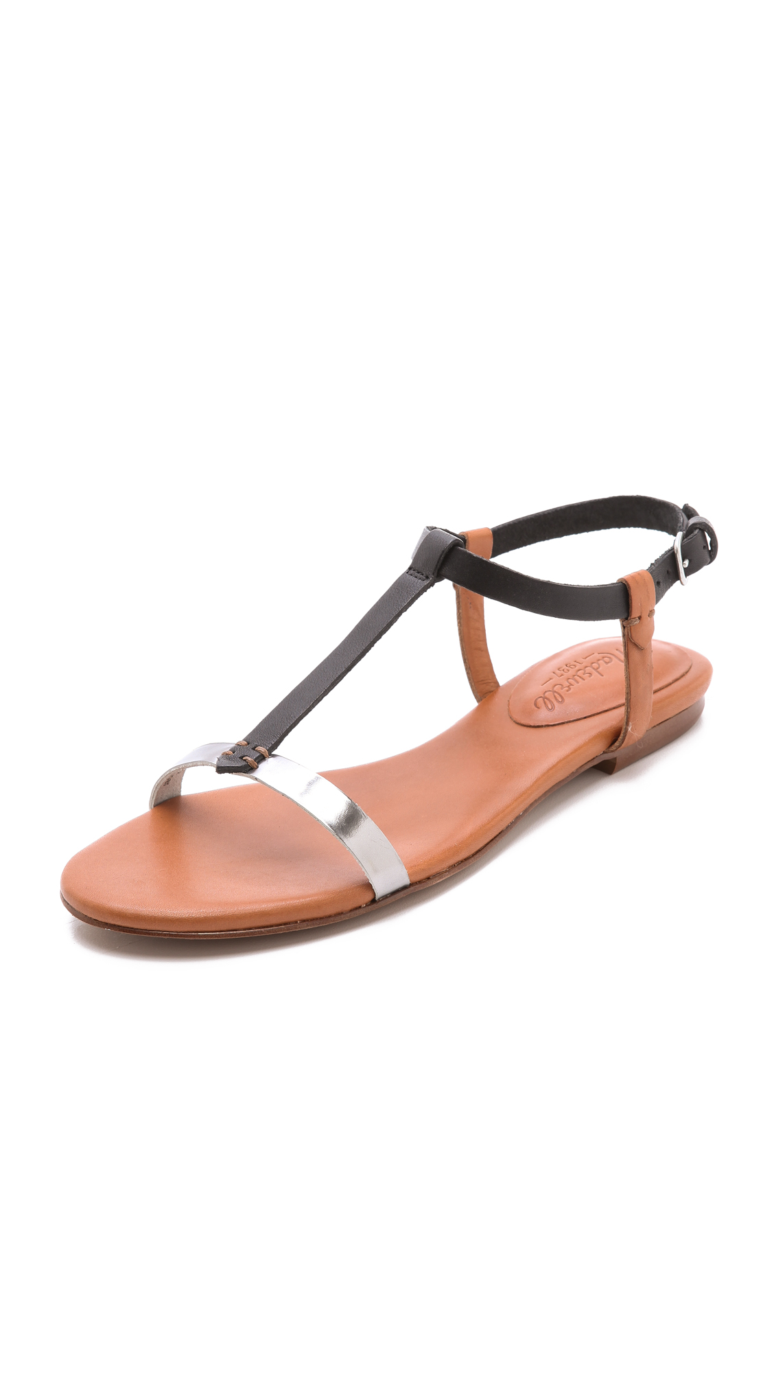 d9c80d26bafba2 Lyst - Madewell T Strap Flat Sandals in Brown