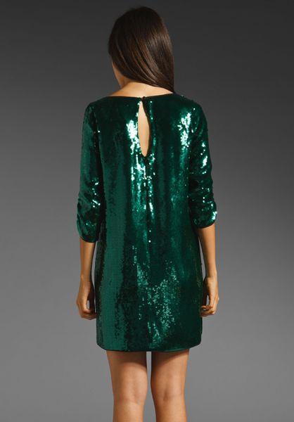Shoshanna Sequin Tara Dress In Emerald In Green Lyst