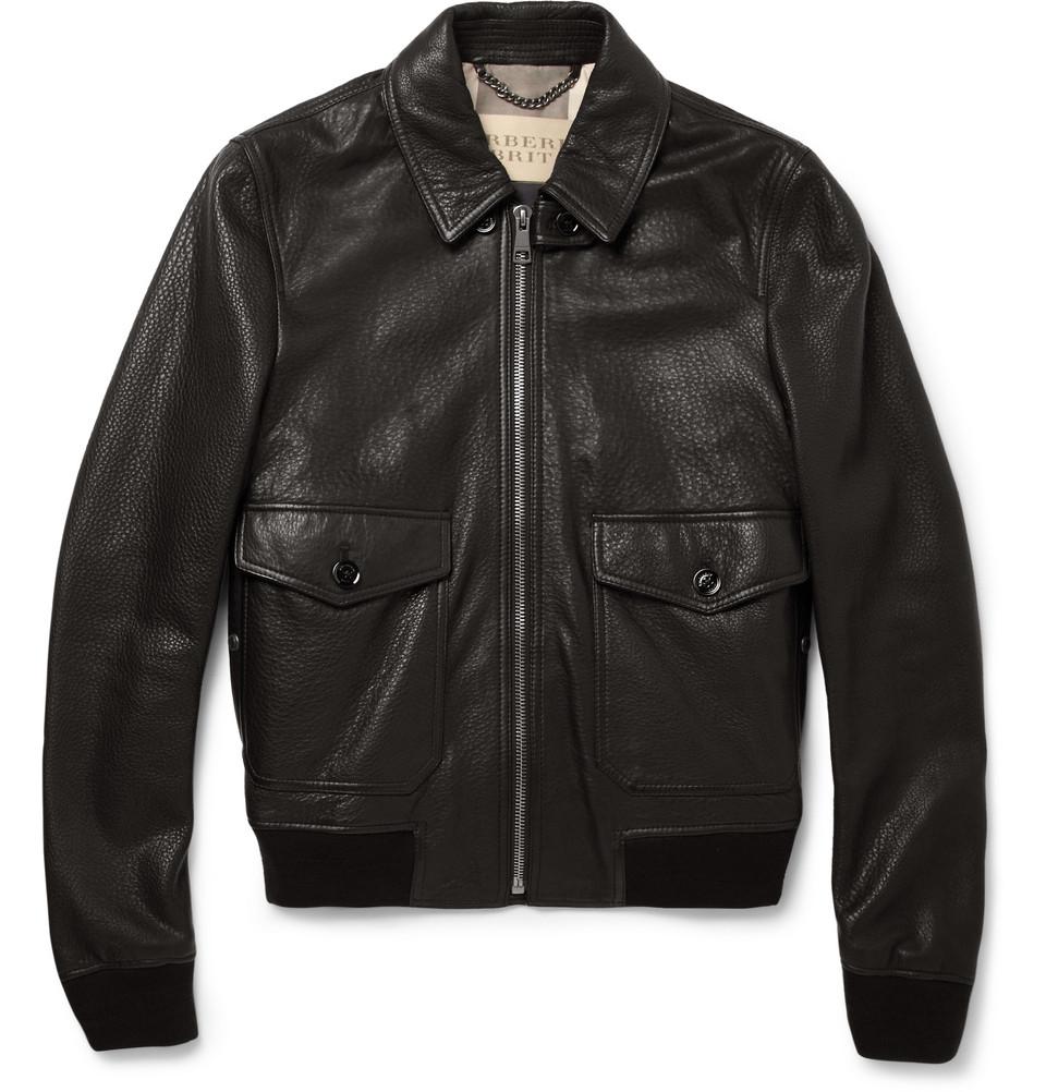 lyst burberry brit slimfit leather bomber jacket in black for men. Black Bedroom Furniture Sets. Home Design Ideas